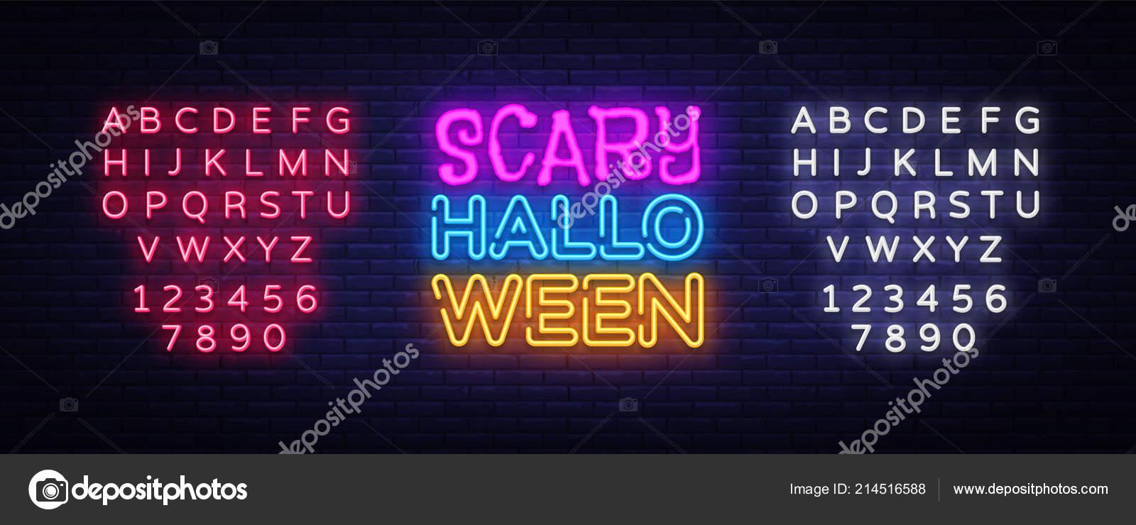Scary Halloween neon text vector design template. Halloween neon ...