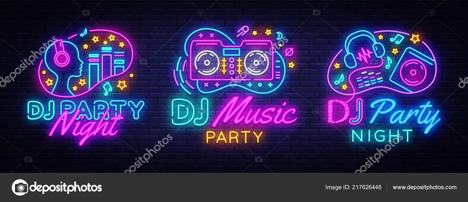 Música de DJ festa neon sign coleção vetor modelo de design