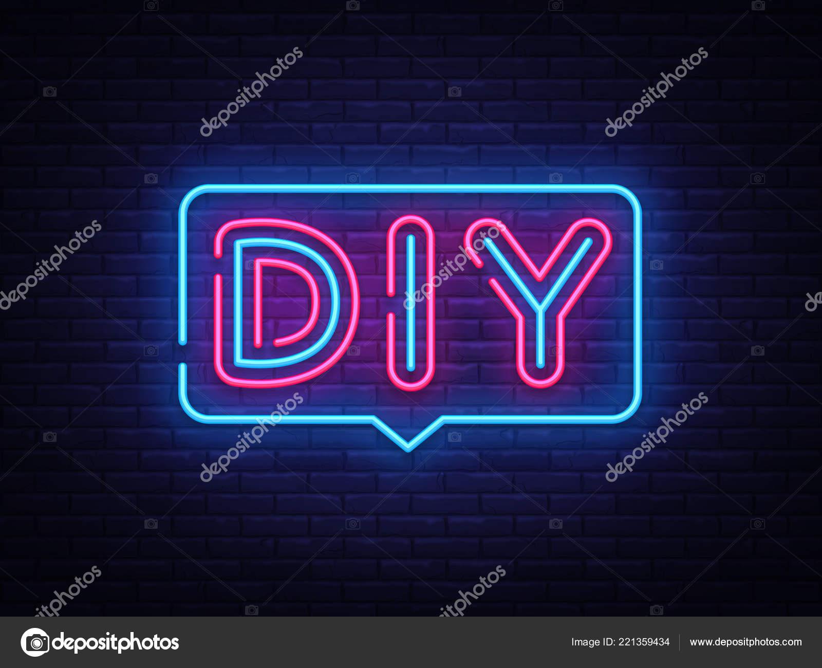 Diy Briefe Neon Text Vektor Do It Yourself Leuchtreklame Design