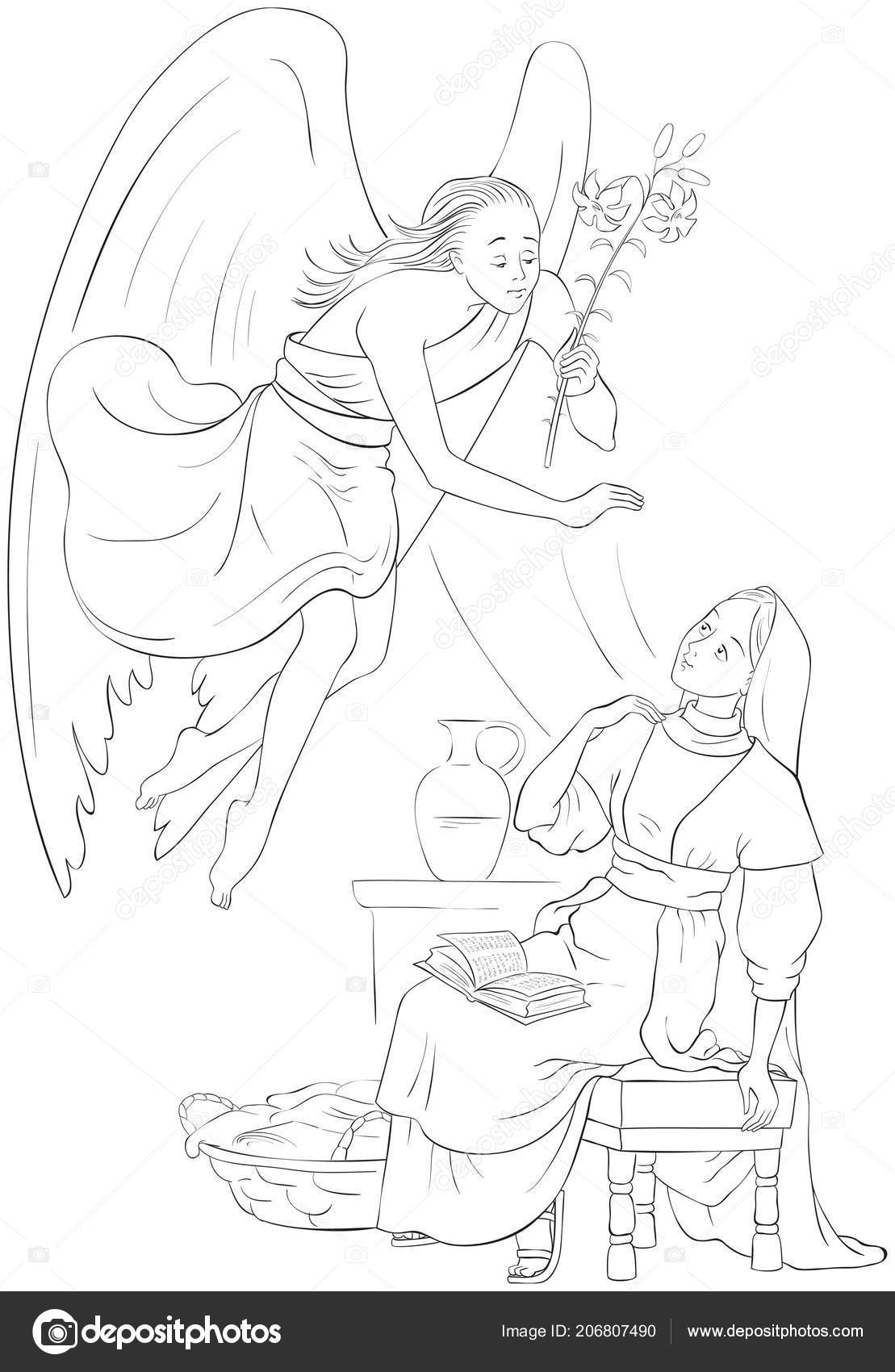 Annunciation Coloring Page Angel Gabriel Announcement Mary ...