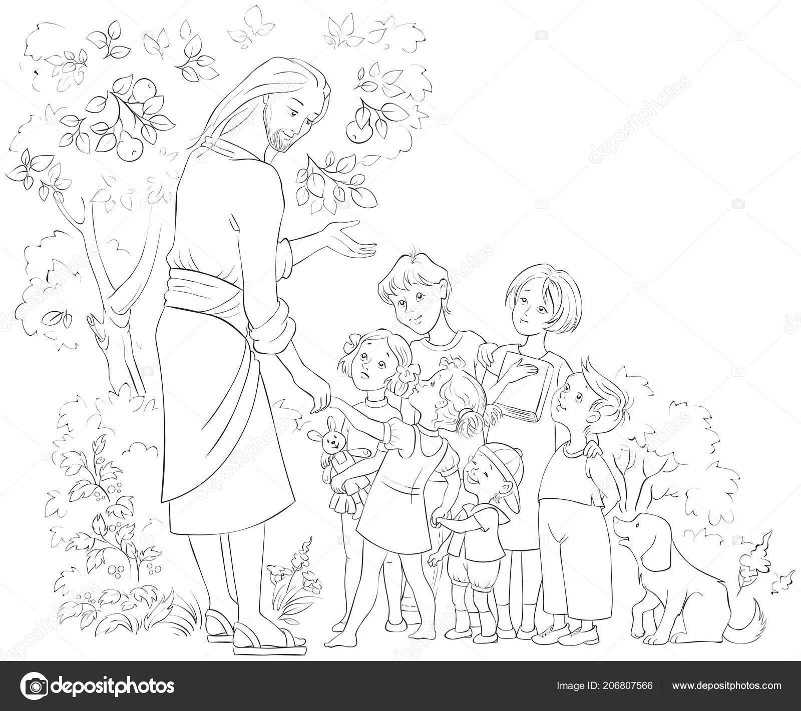 Página Para Colorear Jesús Con Los Niños Ilustración Cristiana