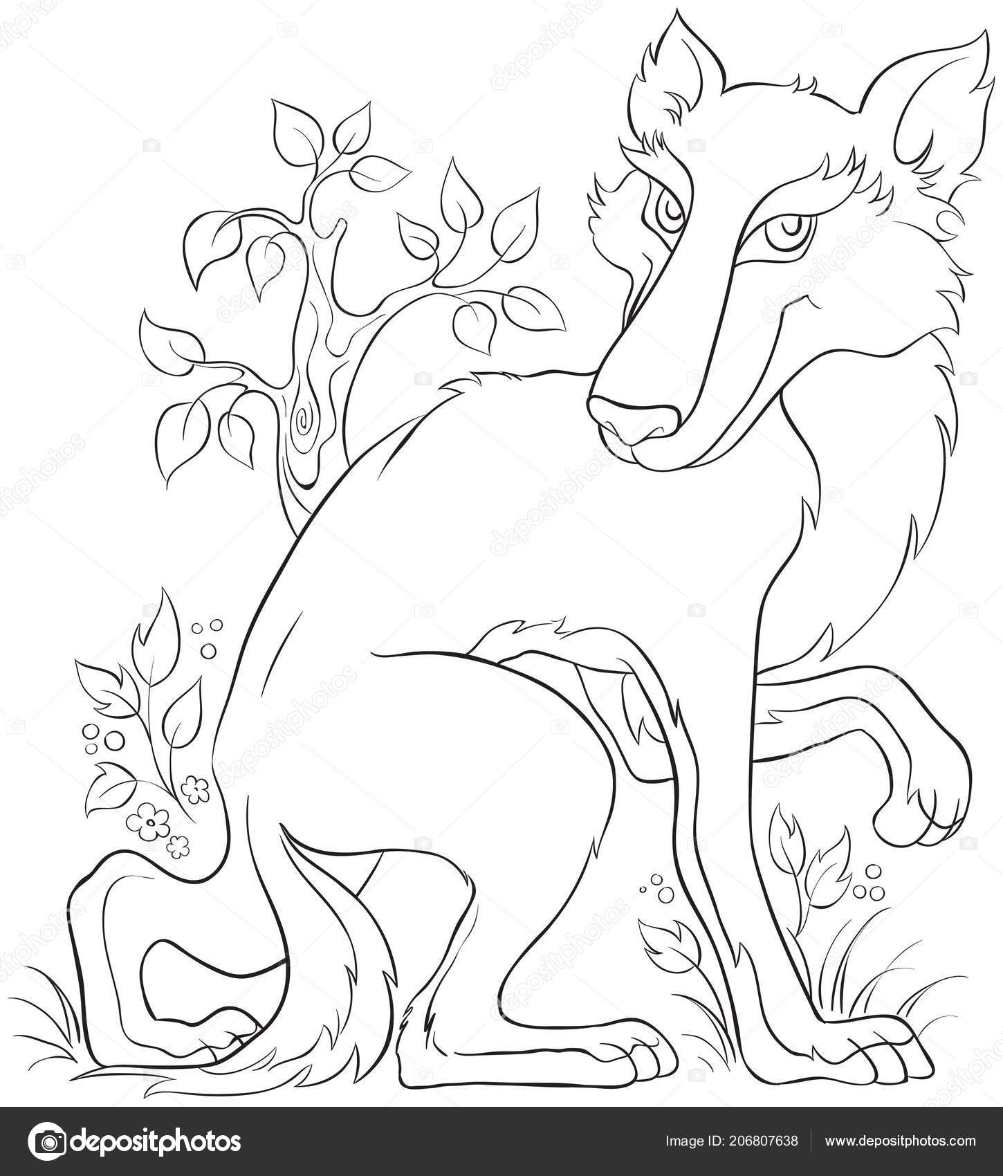 Wolf Coloring Seite Niedliche Tier Charakter Cartoon Kinder ...