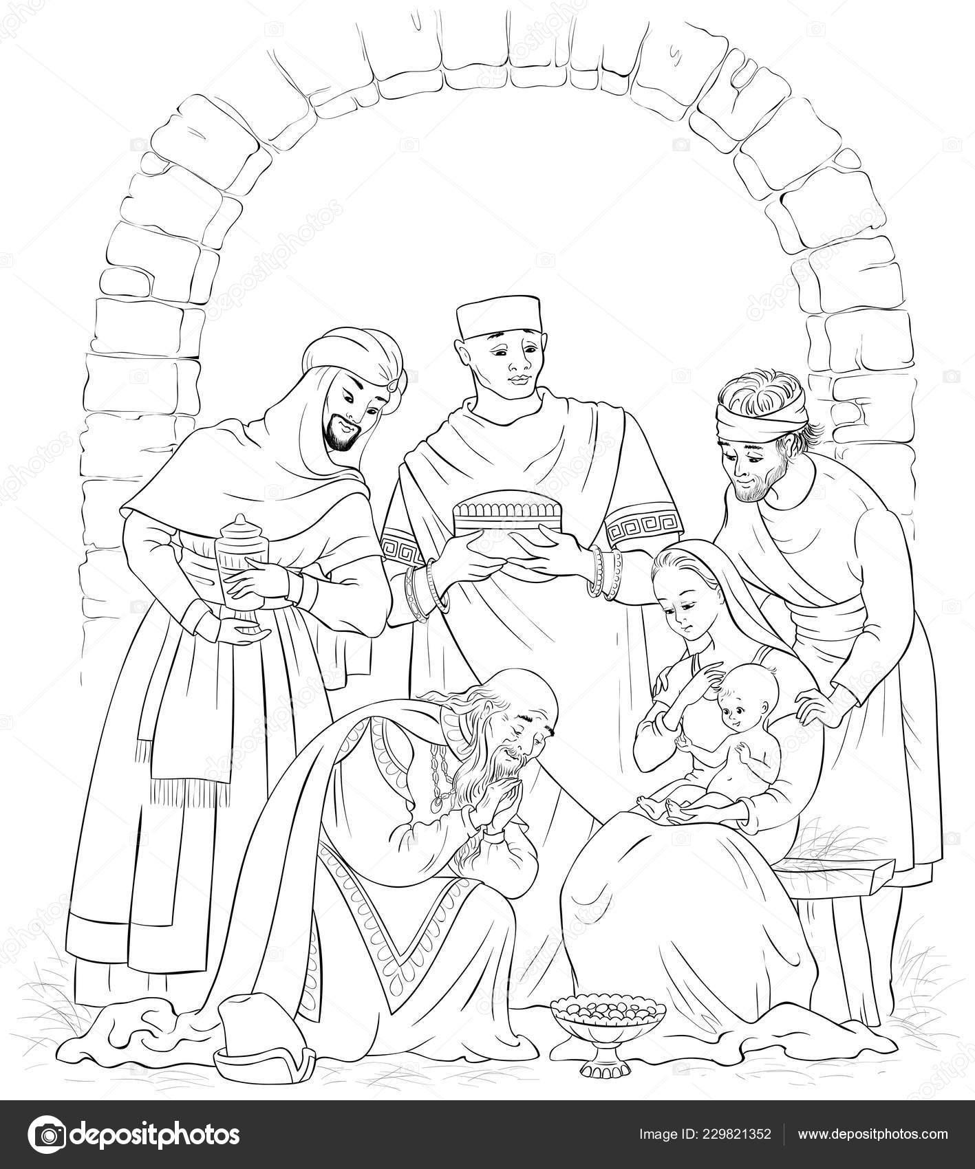Página Christian Christmas Natividad Escena Para Colorear Jesús