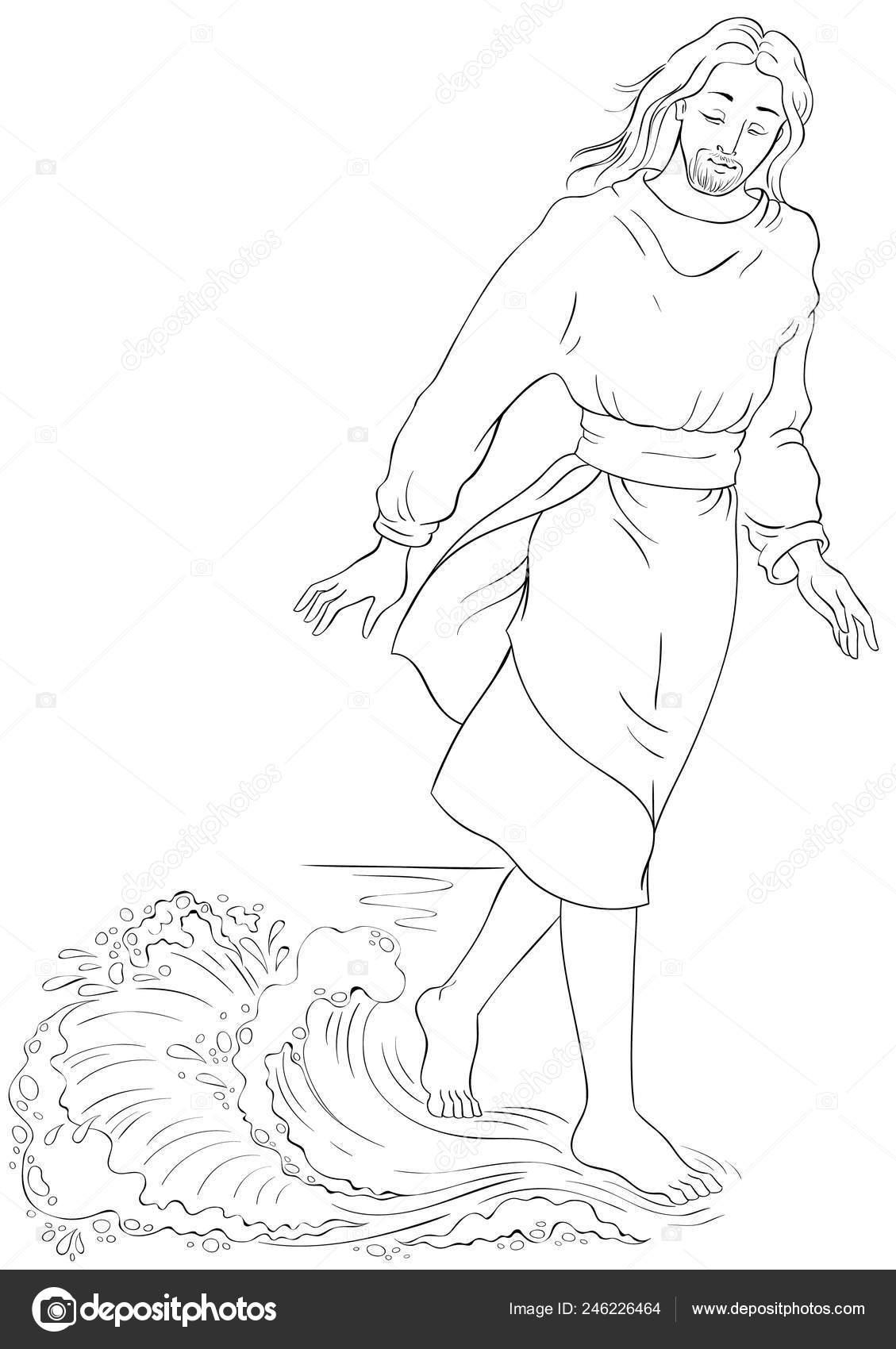 Historia Biblia Jesús Caminando Sobre Agua Página Para