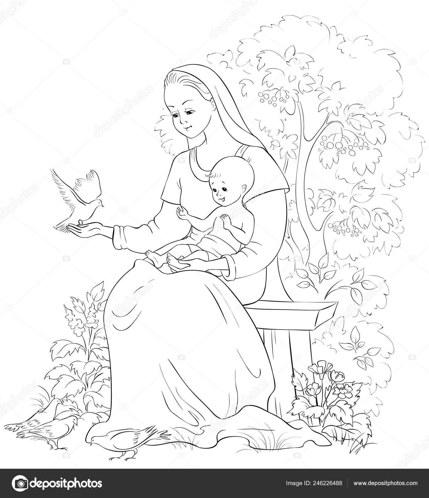 María Con Niño Jesús Página Para Colorear Cristianos Dibujos