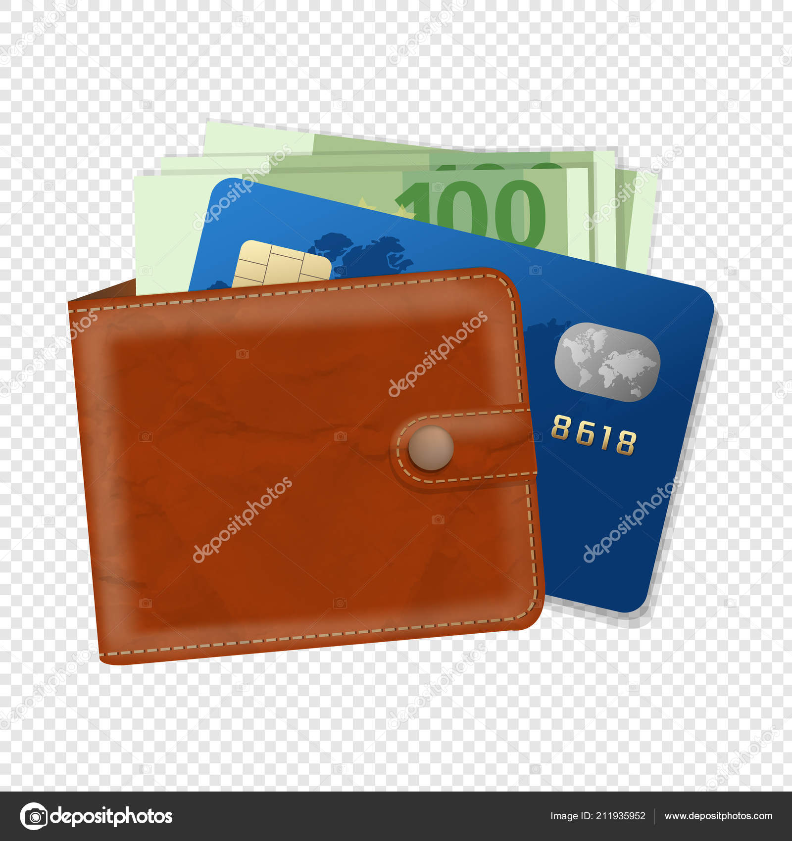 wallet credit card money transparent background gradient mesh