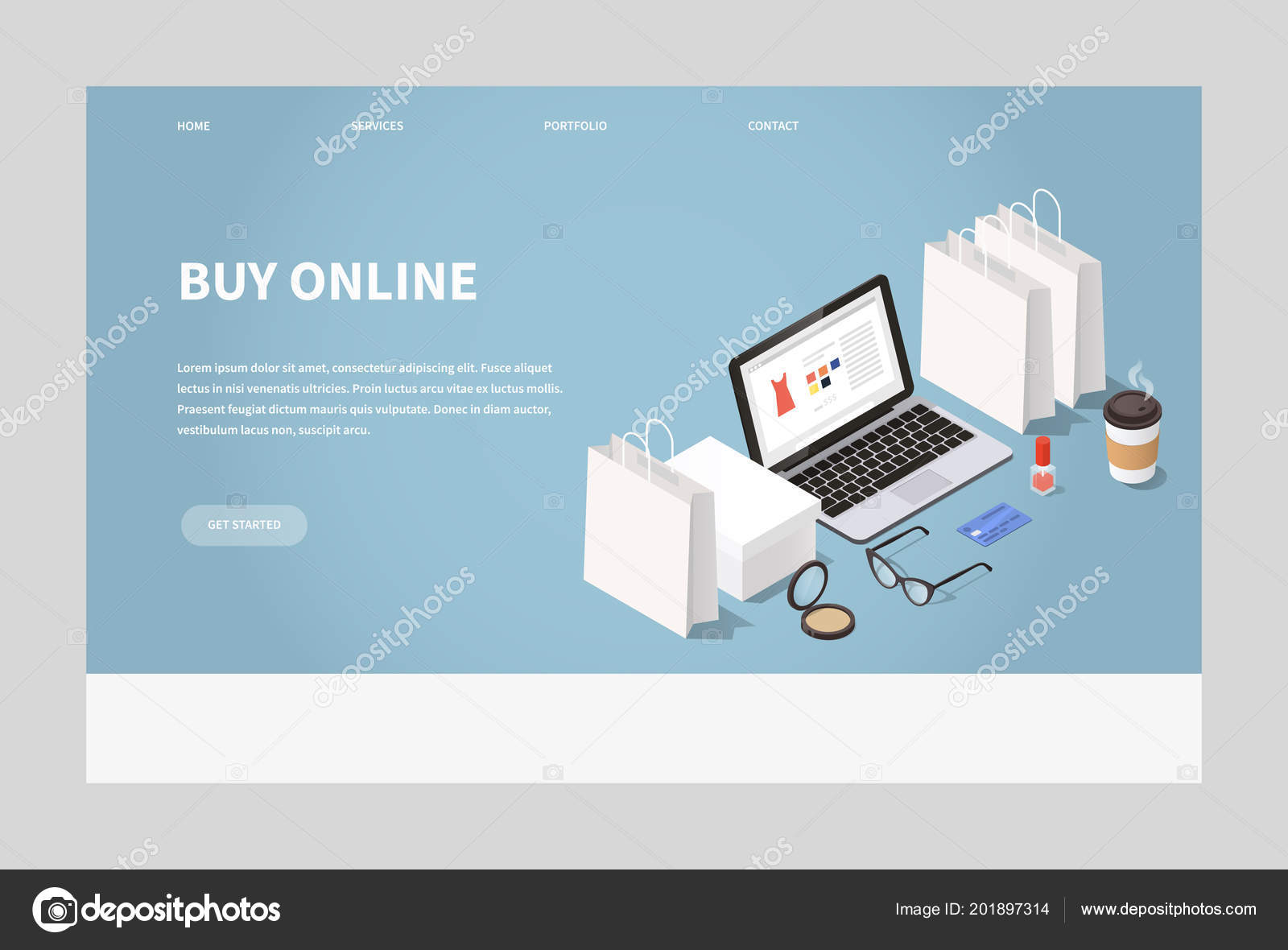 b8e36115d53 Vector isometric illustration of online shopping and delivery. laptop  surrounded with shopping bags