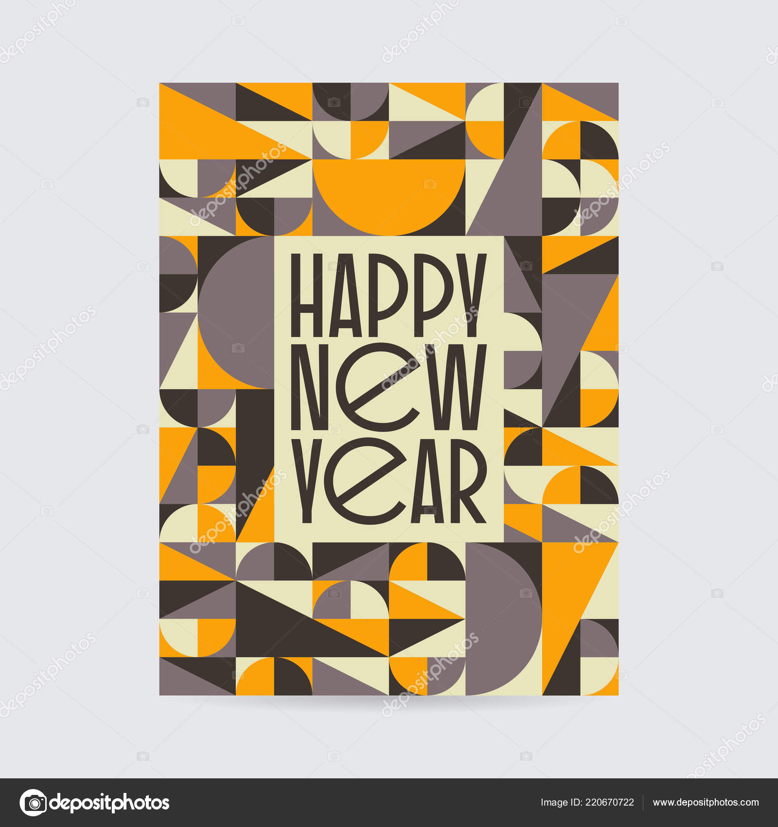 abstract vintage mid century new year card design abstract geometric vintage design vector by isovector