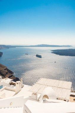 view of Santorini caldera in Greece from coast