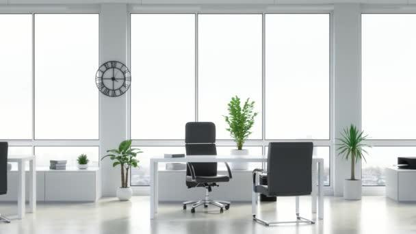 Prázdná kancelář s velkými okny. Smyčka animace v Ultra HD, 4k