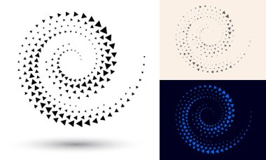 Halftone spiral as icon or background. Black abstract vector as frame with triangles for logo or emblem. Circle border isolated on the white background for your design.