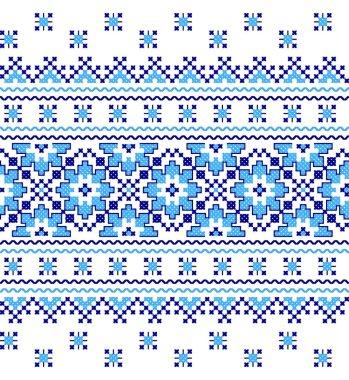 embroidered old handmade cross-stitch ethnic Ukraine pattern. Ukrainian towel with ornament. Rushnyk style in vector