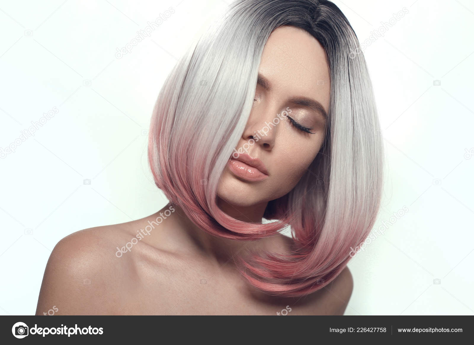 Coiffure Courte Bob Ombre Femme Coloriage Beaux Cheveux