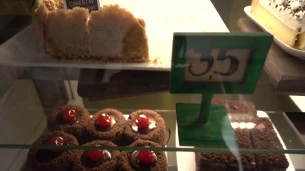 Cakes at coffee shop, slider move, titles of cakes in Russian