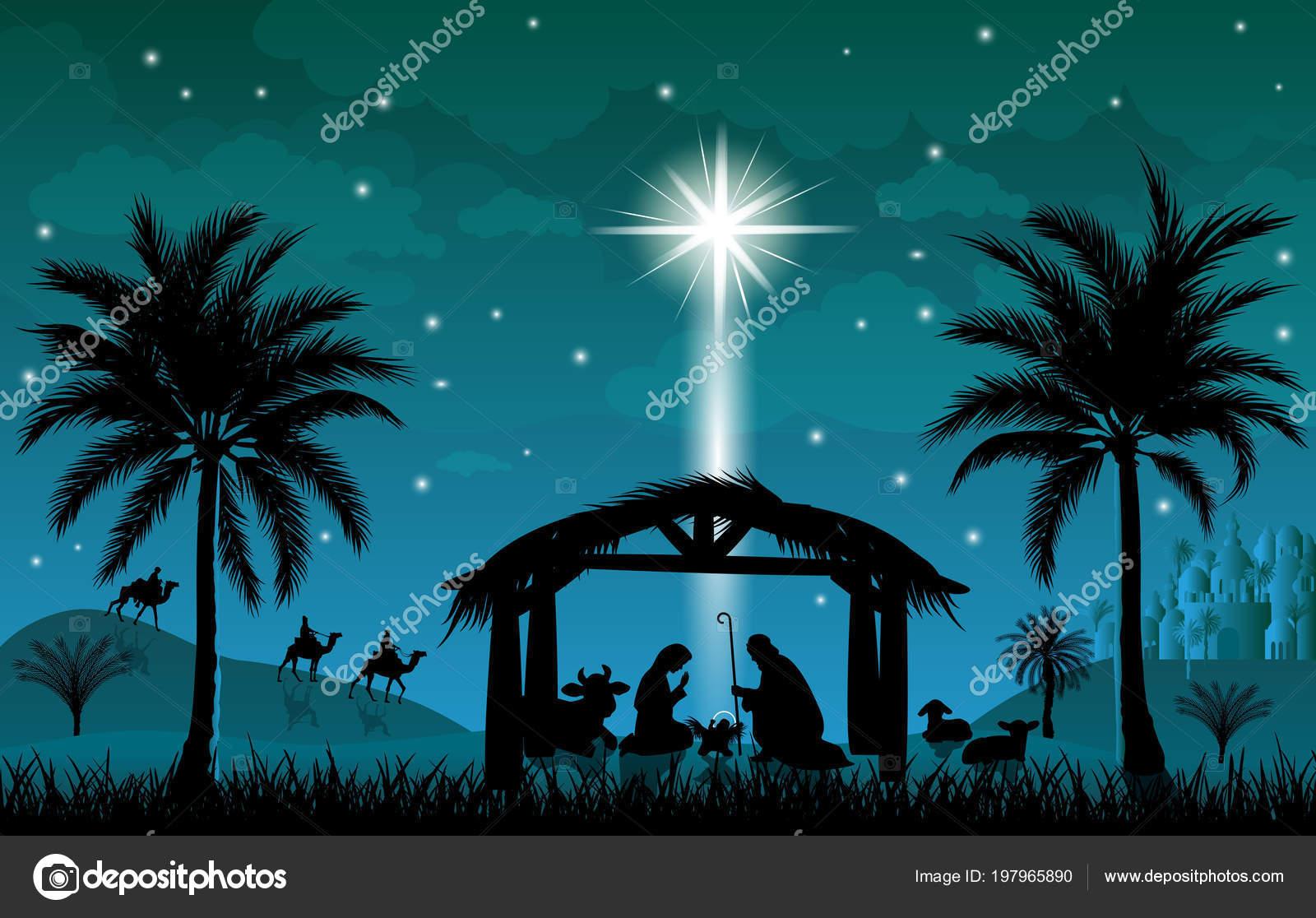 Die Szene Der Geburt Jesu Christi Weihnachten Die Szene Von ...