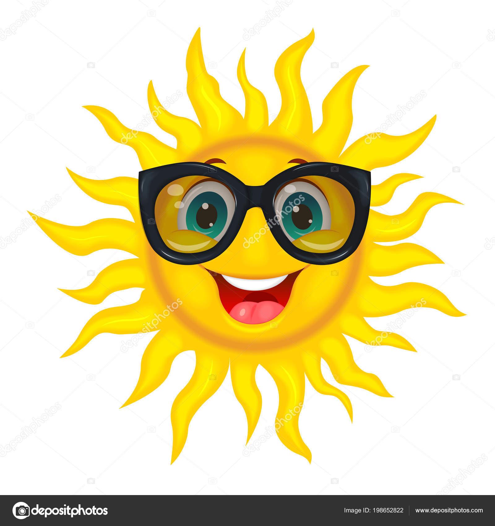 a4c824565874 Веселый мультфильм солнце в защитные очки от солнца. Веселый мультфильм  солнце на белом фоне — Вектор от liole