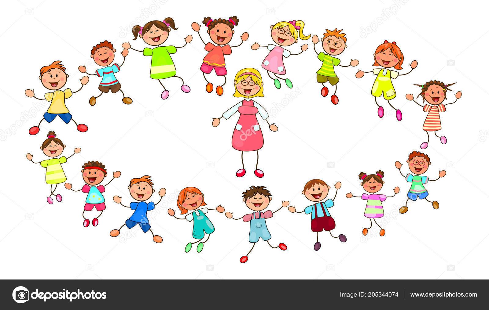 Joyeux petits enfants enseignant groupe enfants avec professeur sur une image vectorielle - Dessin groupe d enfants ...