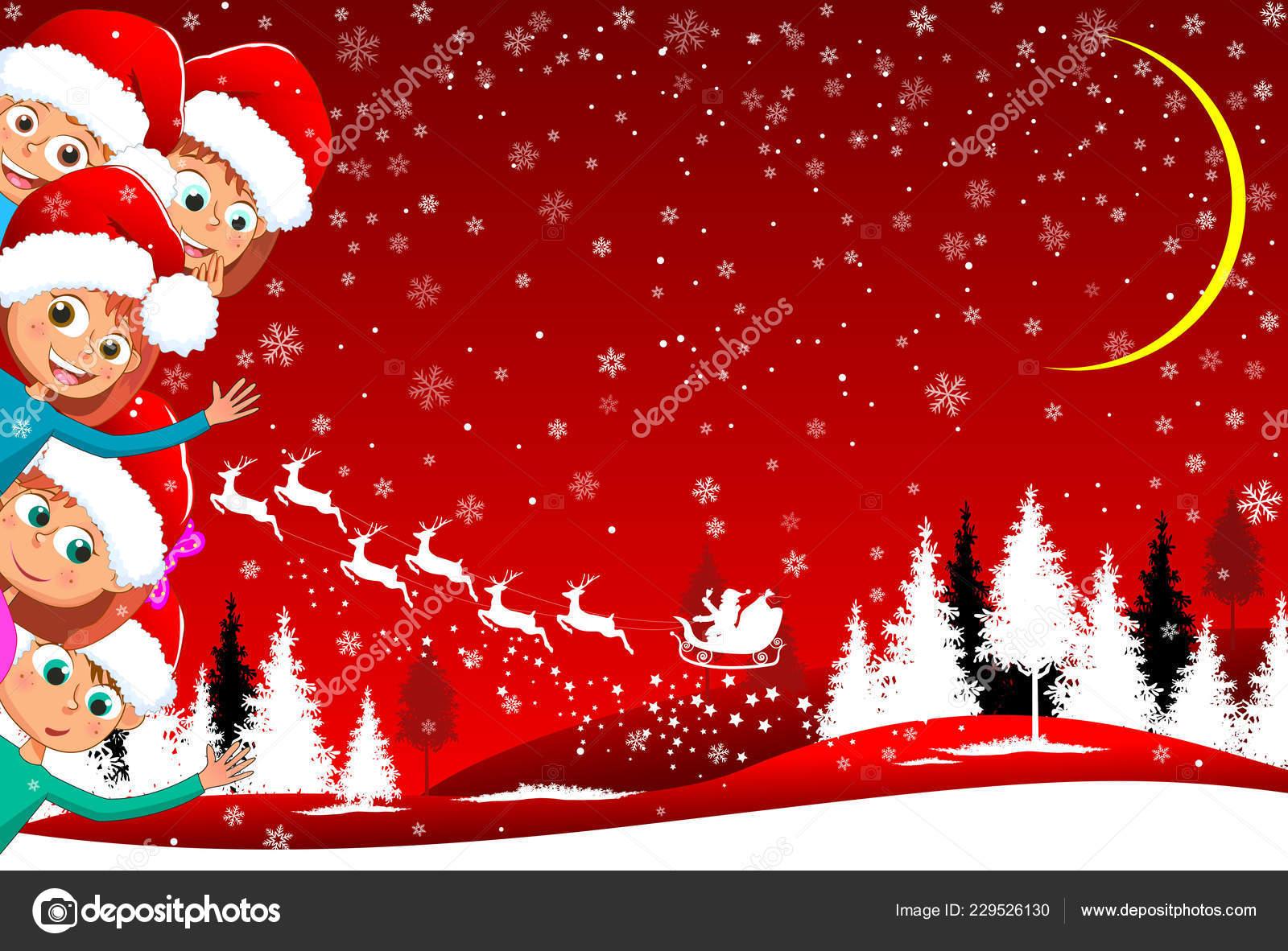 Little Kids Red Winter Background Children Backdrop Winter Landscape Santa Stock Vector C Liole 229526130