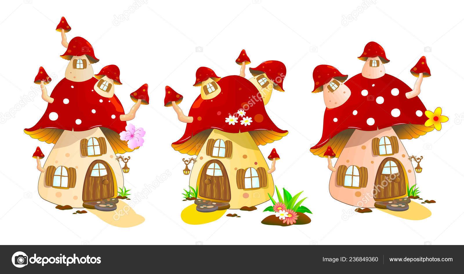 Dessin animé maisons champignons sur fond blanc couleurs maison champignon illustration de stock