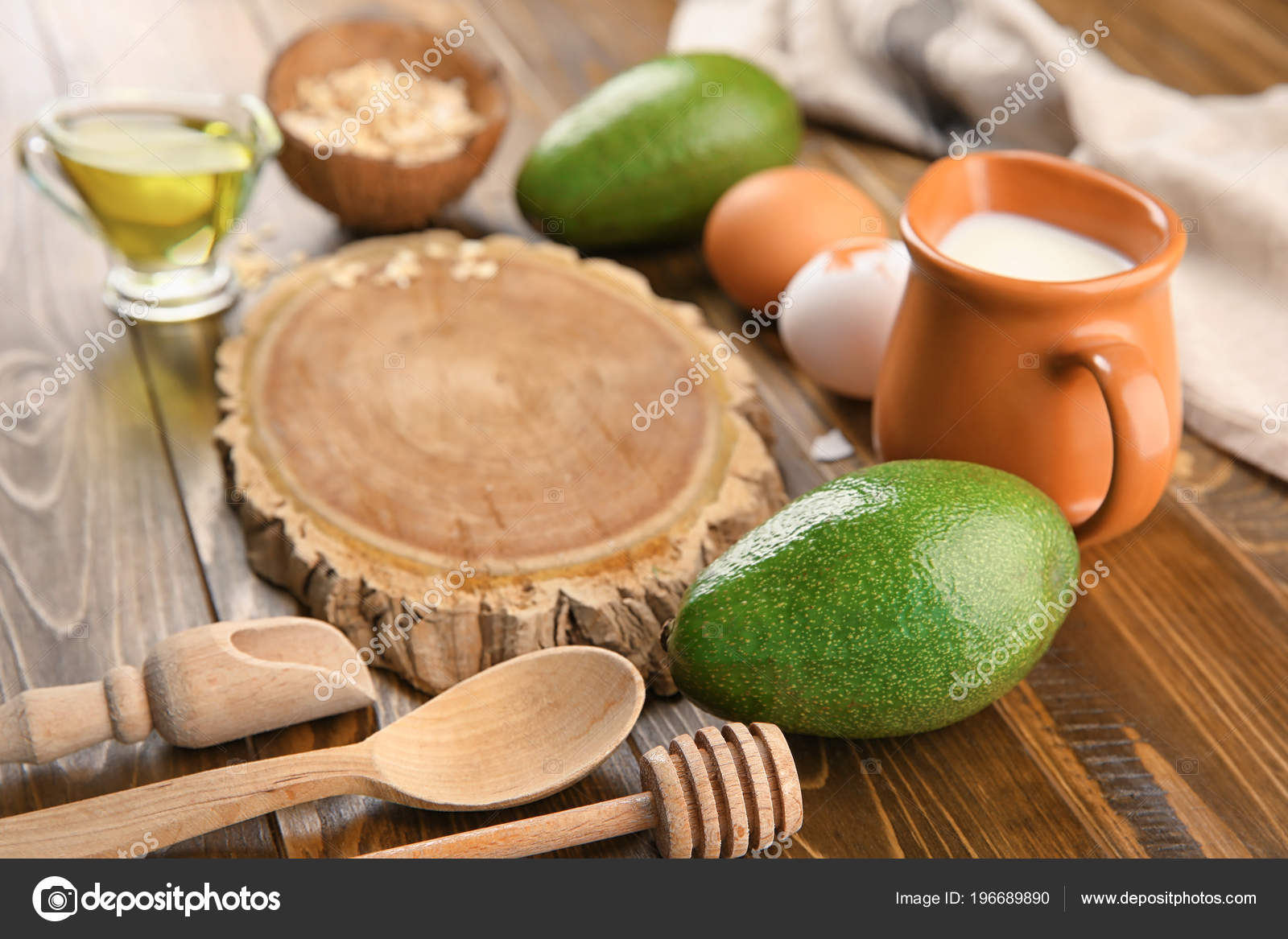 Wooden Board Natural Ingredients Homemade Cosmetics Table — Stock