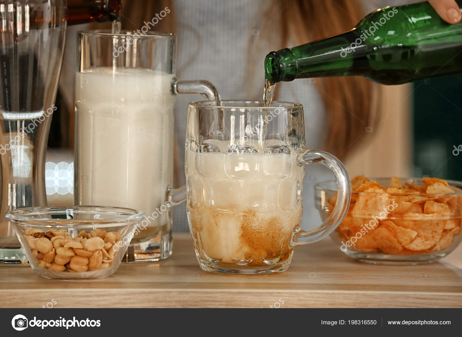 Woman Pouring Beer Glasses Table Bar Stock Photo