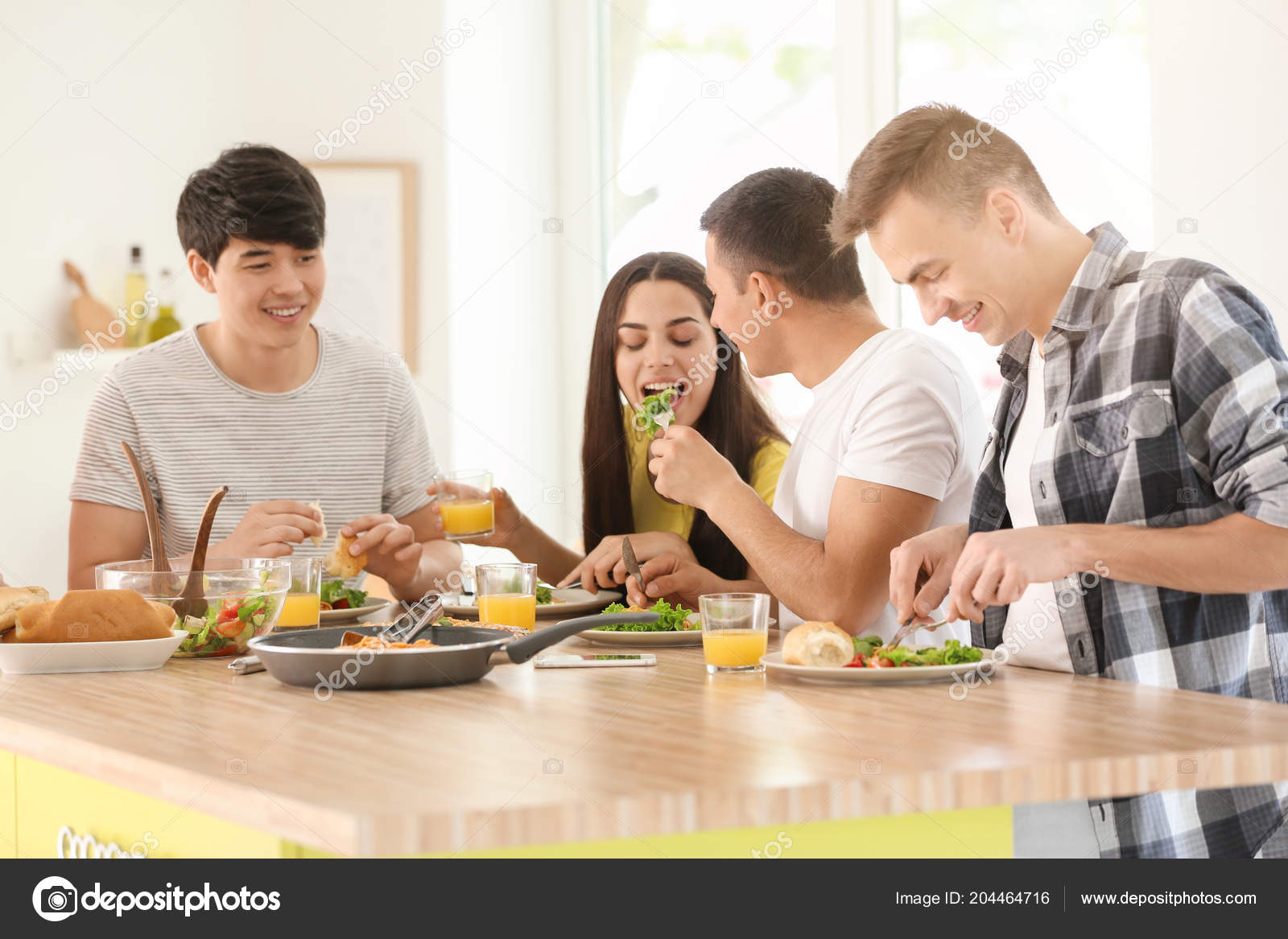 Fine Friends Eating Table Kitchen Stock Photo C Serezniy 204464716 Download Free Architecture Designs Embacsunscenecom