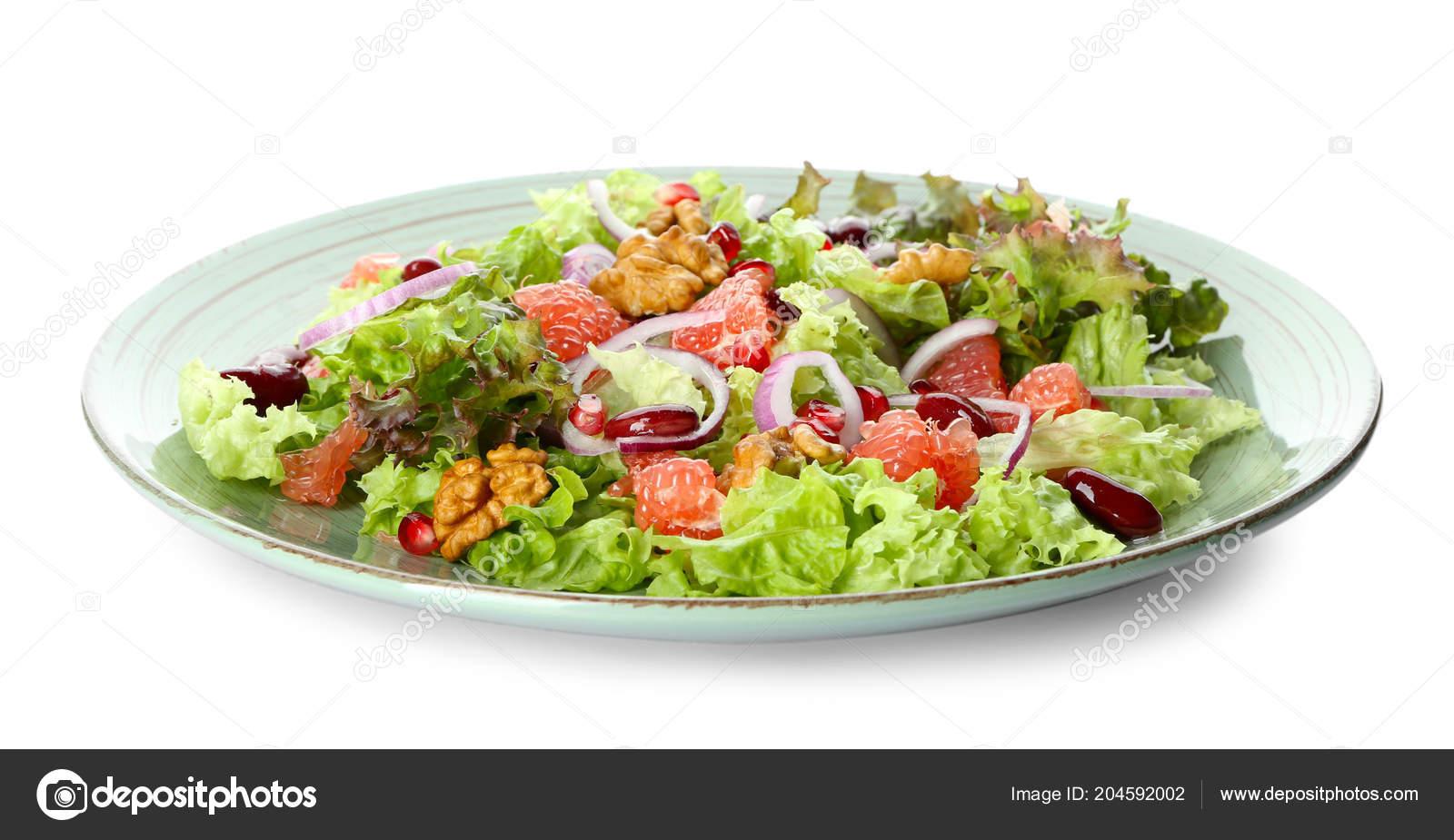 Plate Delicious Fresh Salad White Background Stock Photo