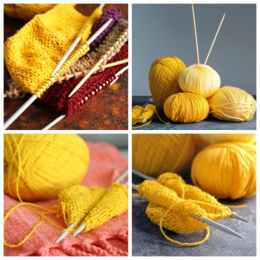 Collage of yellow knitting threads