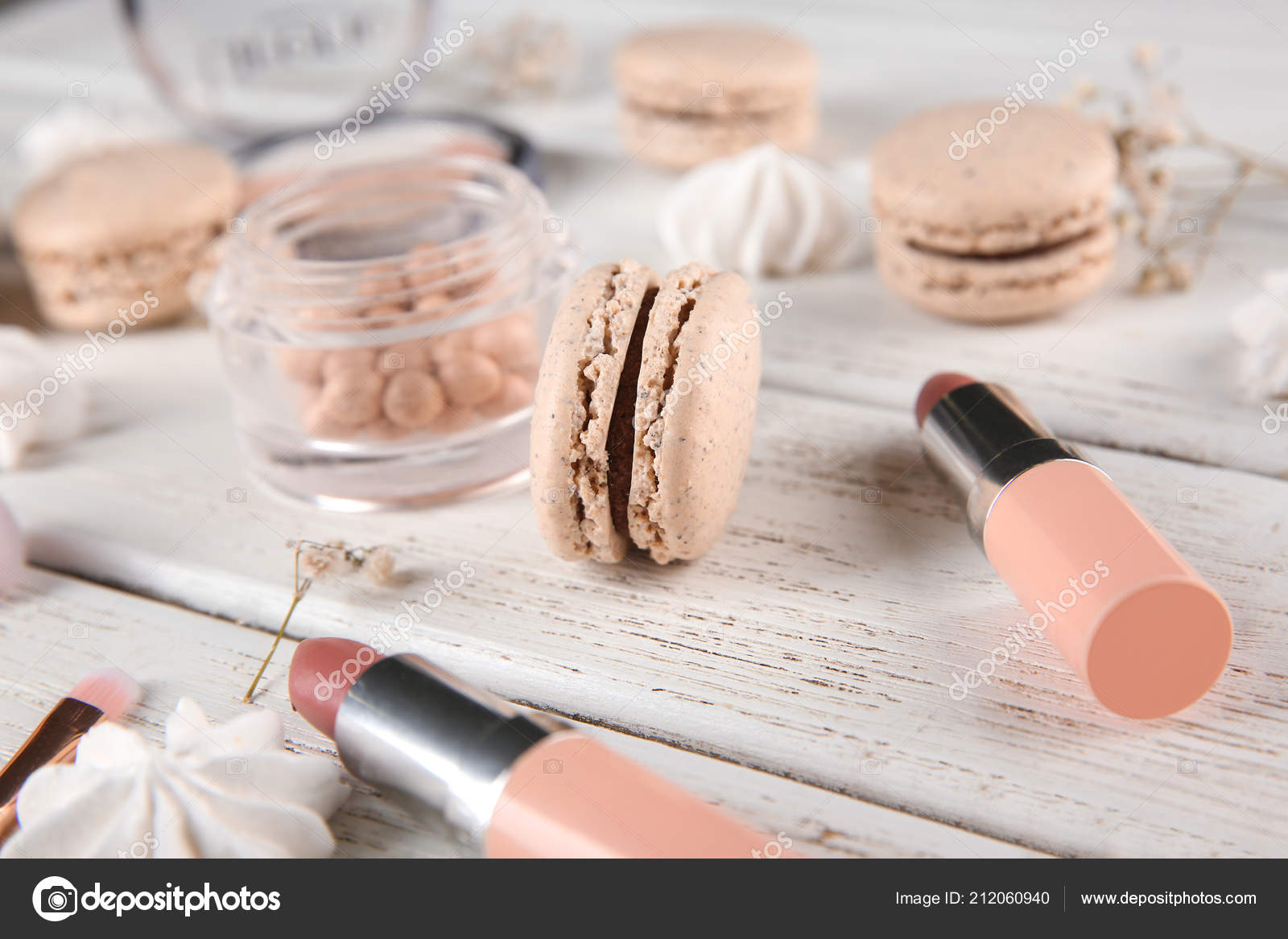 Tasty Macaron Makeup Products Wooden