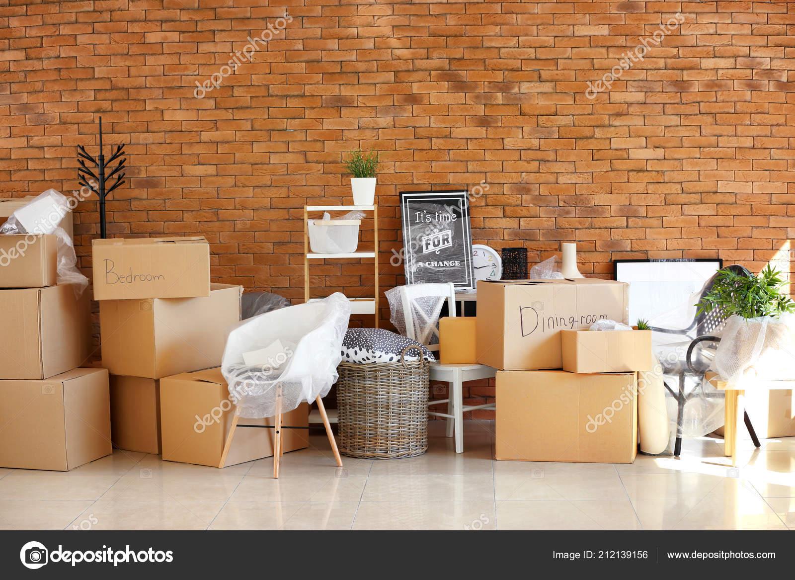 Carton Boxes Interior Items Room Moving House Concept Stock Photo C Serezniy 212139156