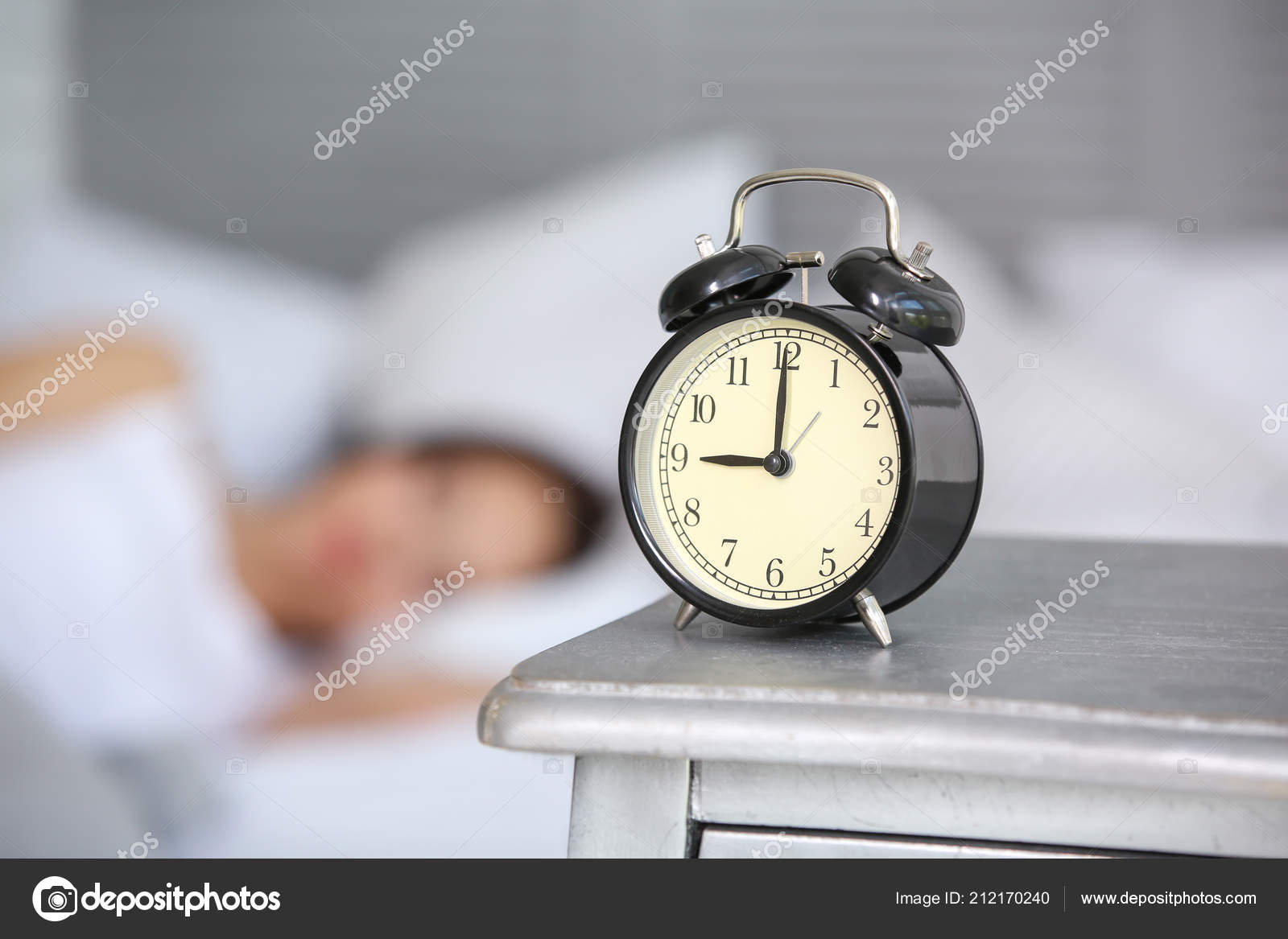 Alarm Clock Table Bedroom Beautiful Young Woman Morning Time