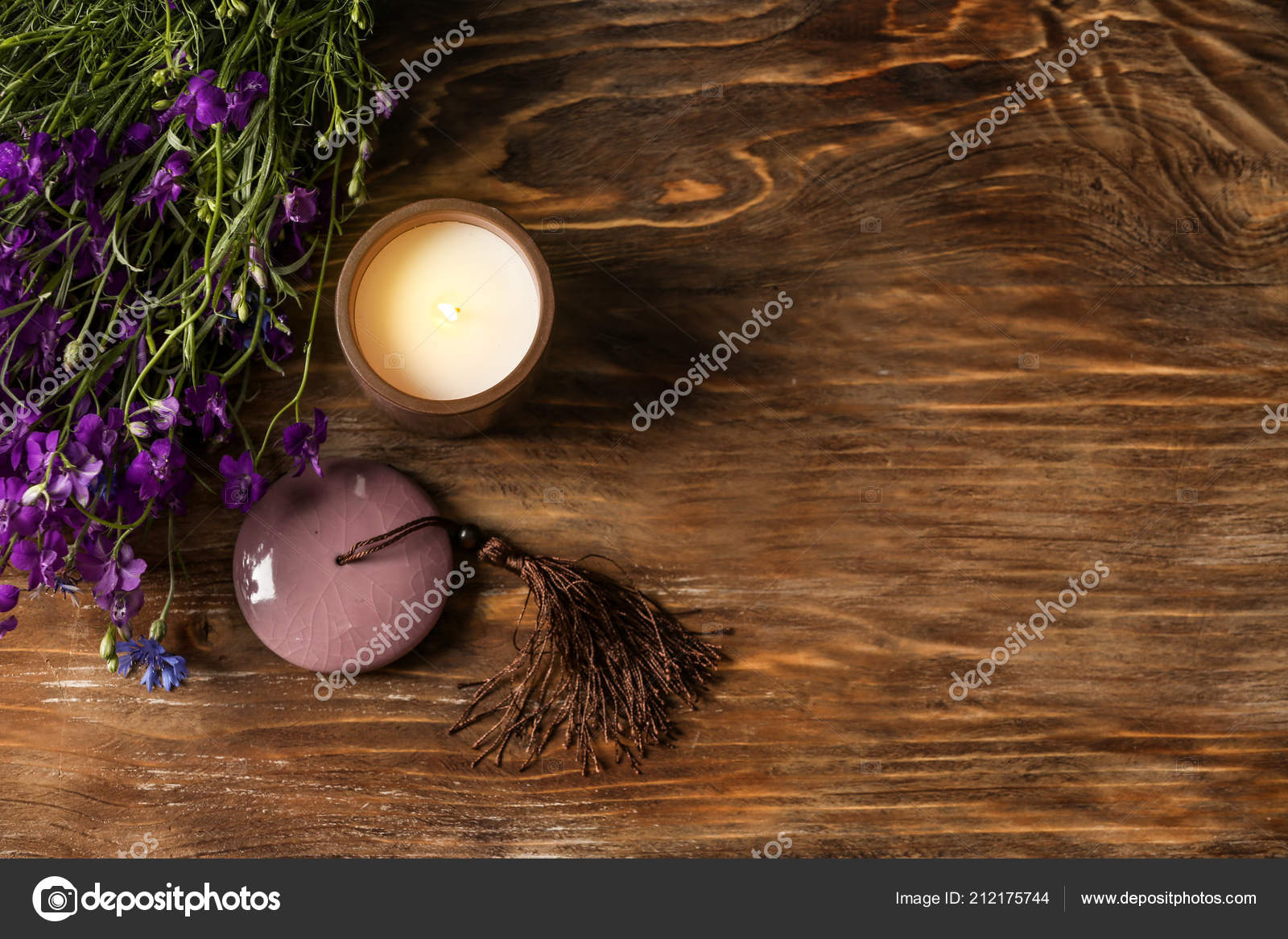Burning Candle Beautiful Flowers Wooden Table — Stock Photo