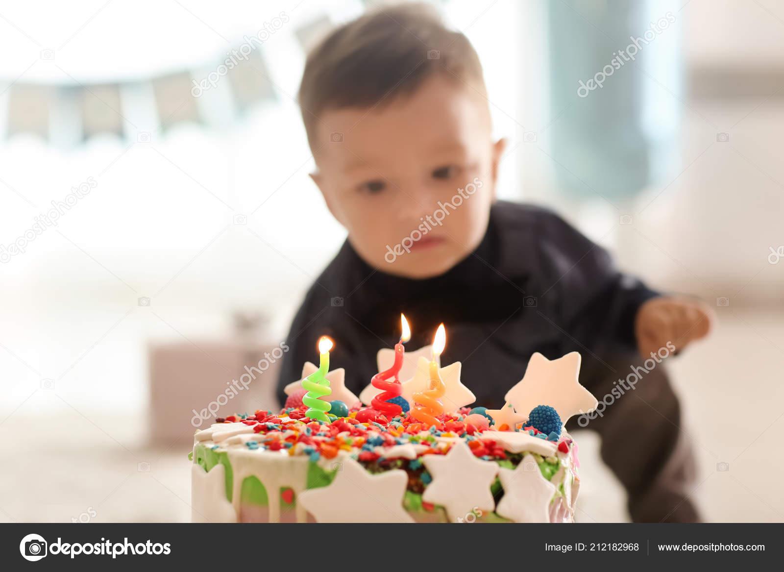 Fine Cute Little Boy Birthday Cake Home Stock Photo C Serezniy 212182968 Birthday Cards Printable Nowaargucafe Filternl