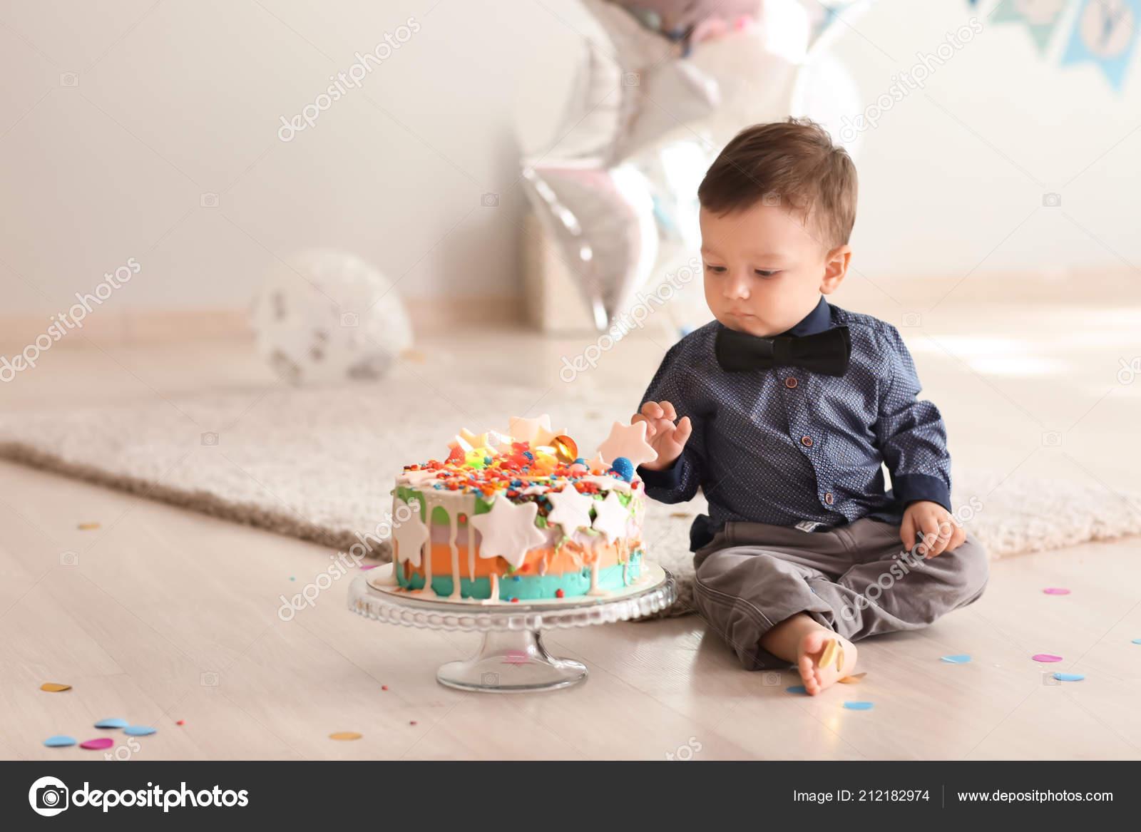 Remarkable Cute Little Boy Birthday Cake Floor Room Stock Photo C Serezniy Birthday Cards Printable Nowaargucafe Filternl
