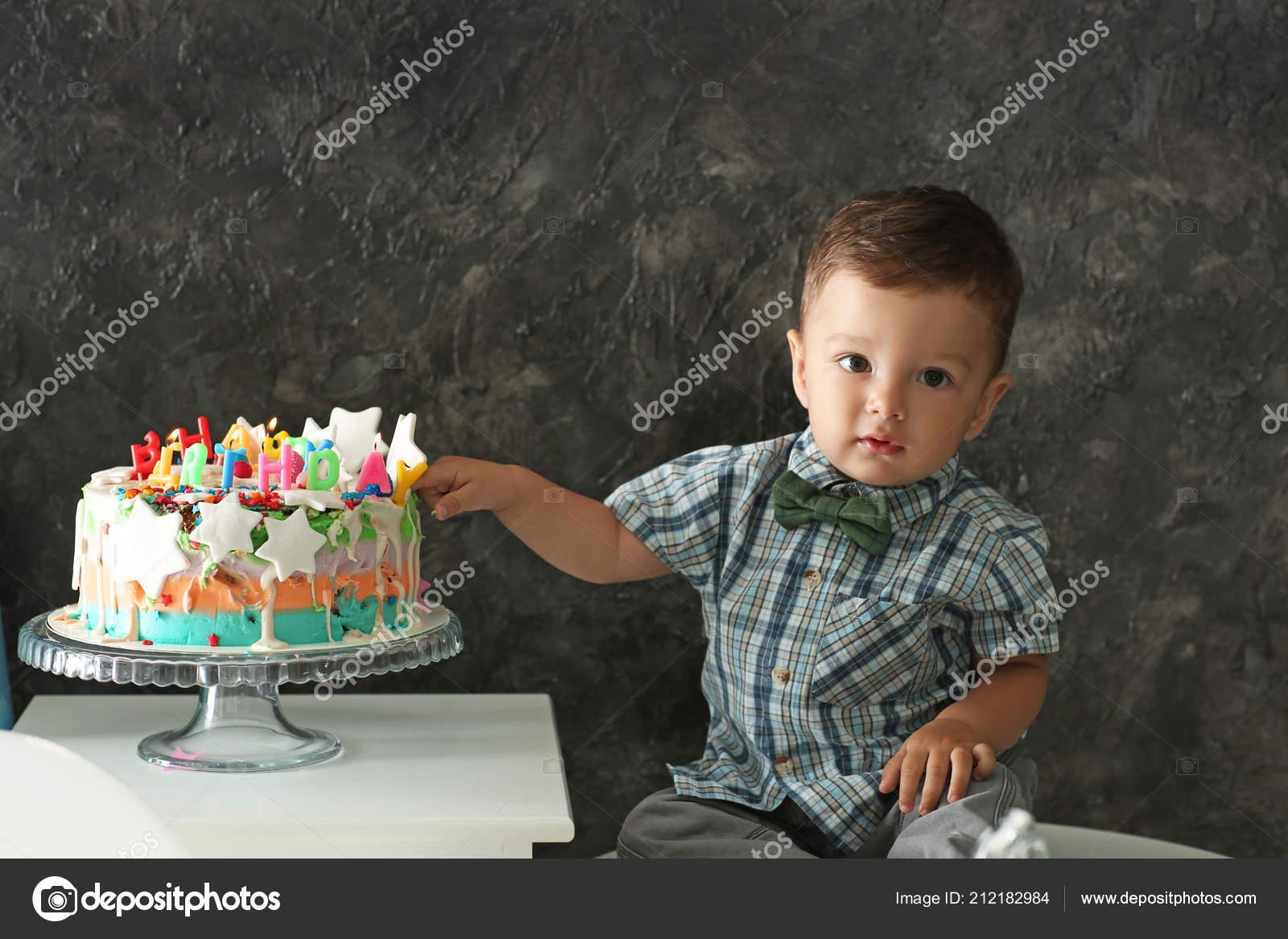 Awe Inspiring Cute Little Boy Birthday Cake Grey Wall Stock Photo C Serezniy Birthday Cards Printable Nowaargucafe Filternl