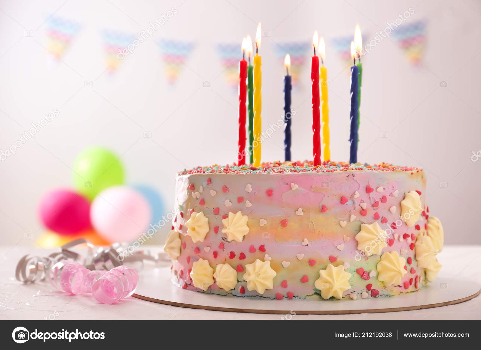 Beautiful Tasty Birthday Cake Candles White Table Stock Image