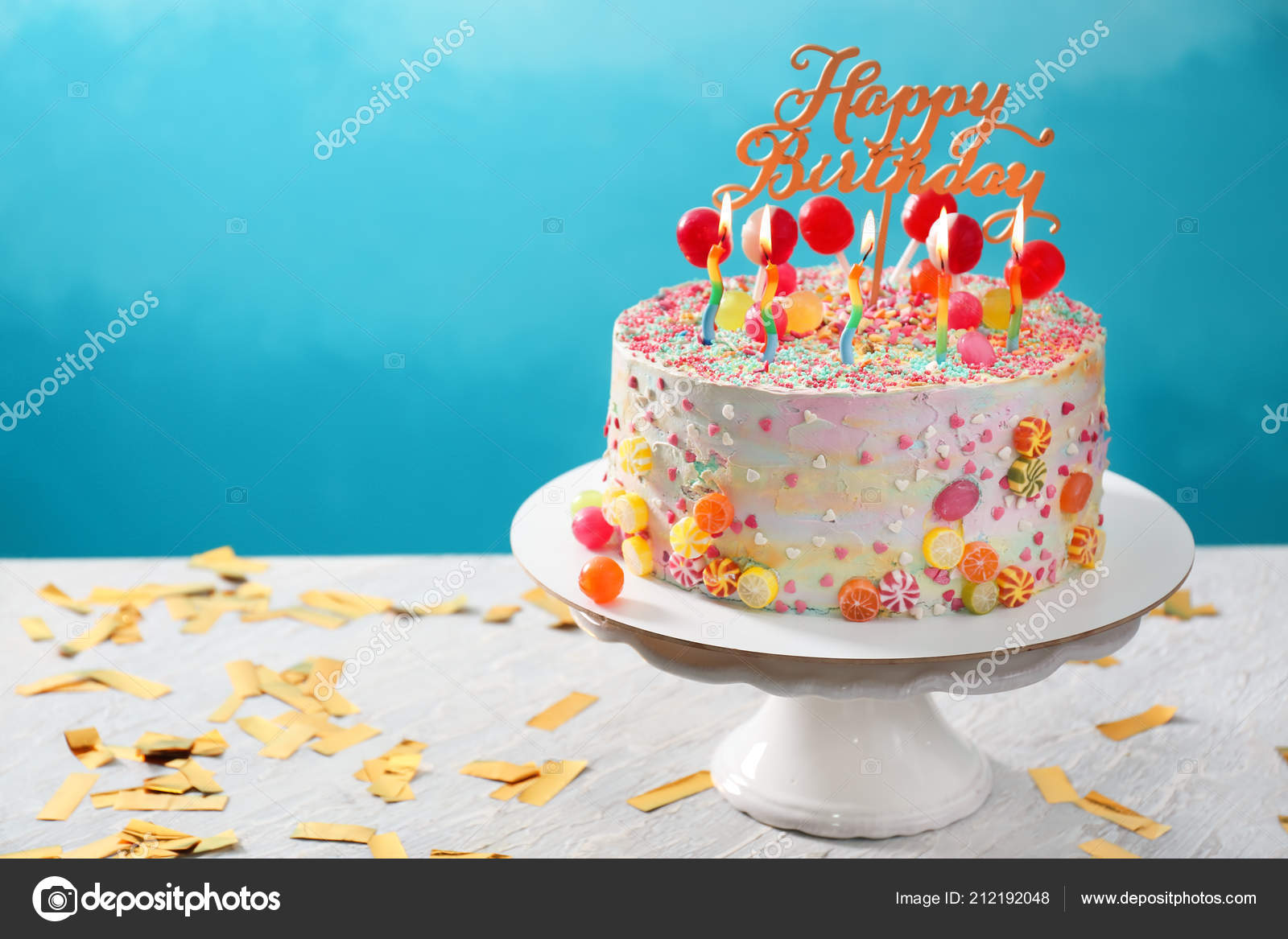 Stand Beautiful Tasty Birthday Cake Table Color Background Stock Photo
