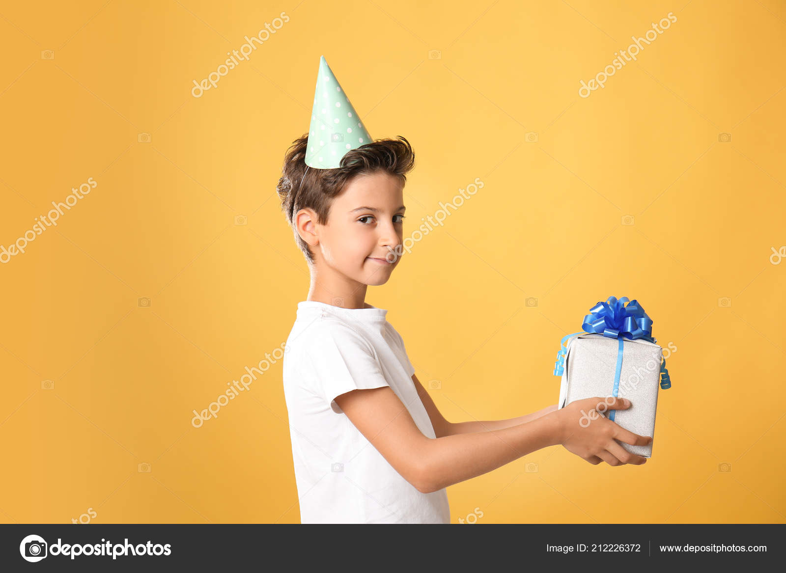 Cute Little Boy Birthday Gift Color Background Stock Image