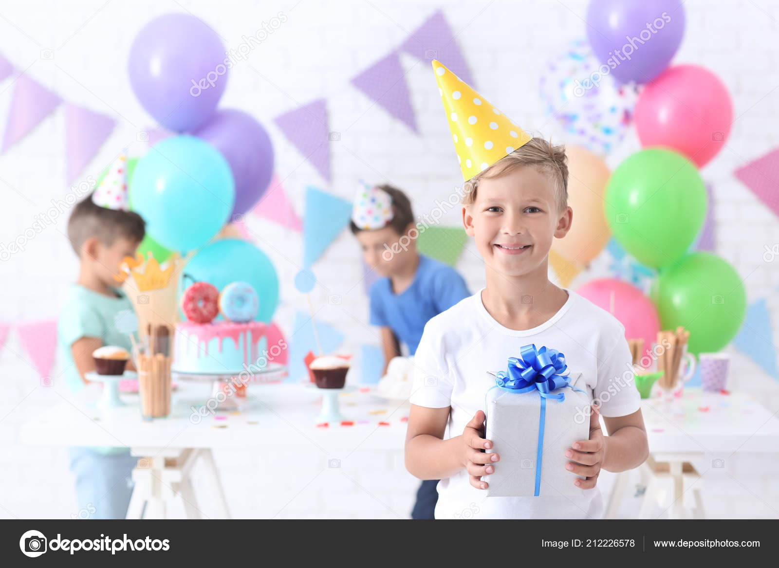 Cute Little Boy Birthday Gift Party Stock Image