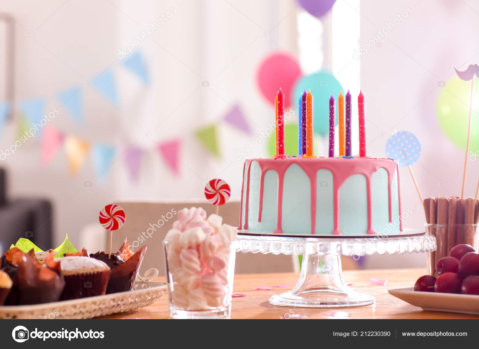 Incredible Beautiful Birthday Cake Candles Different Sweets Table Stock Personalised Birthday Cards Cominlily Jamesorg