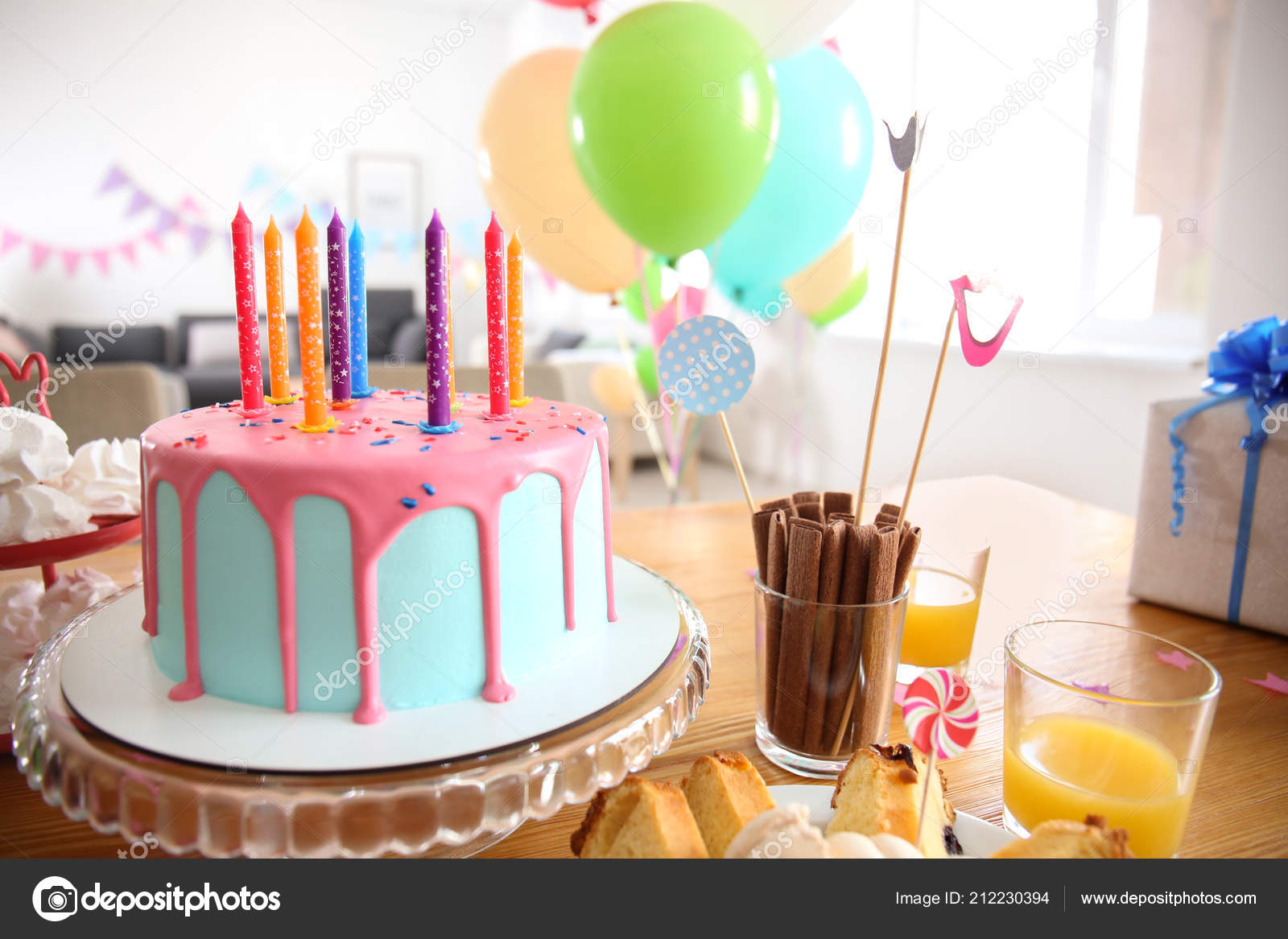Beautiful Birthday Cake Candles Table Stock Image