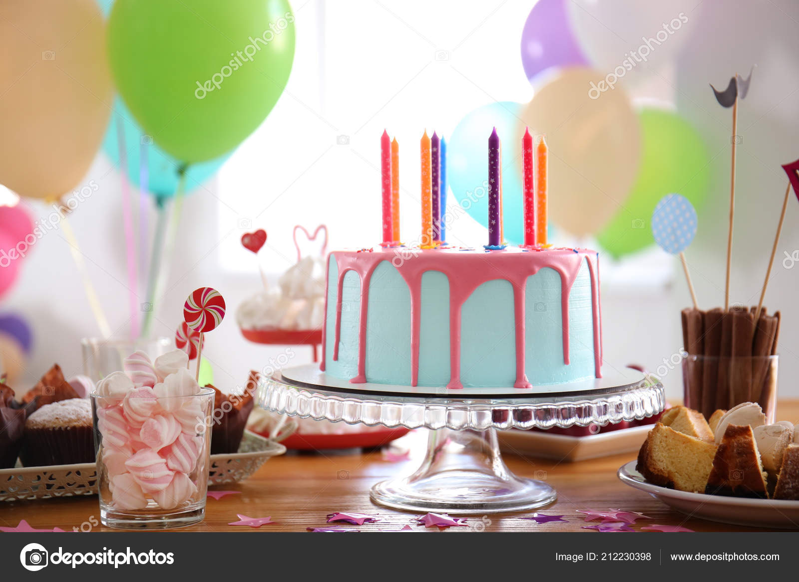 Beautiful Birthday Cake Candles Different Sweets Table Stock Image