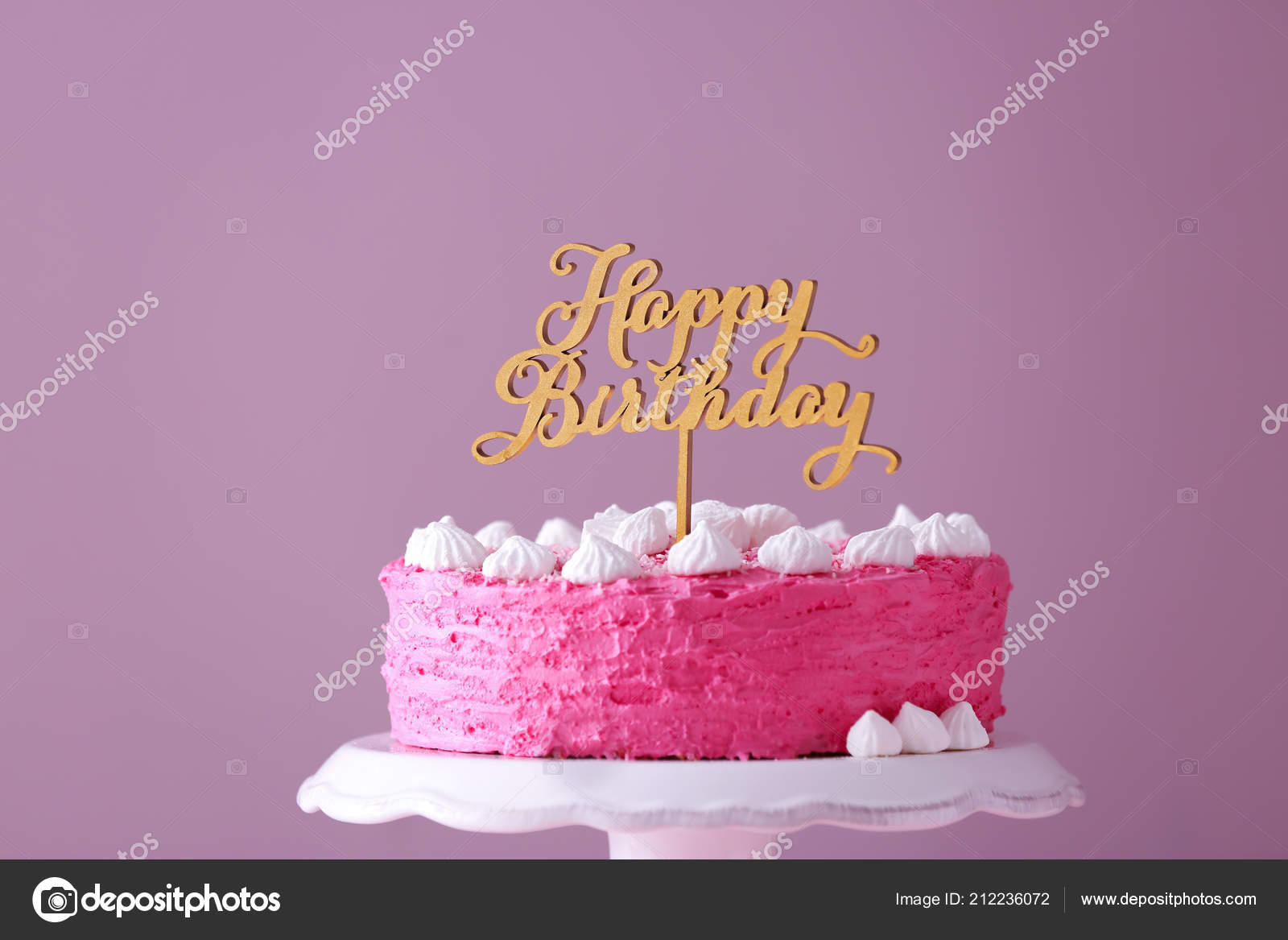 Stand Delicious Birthday Cake Color Background Stock Photo