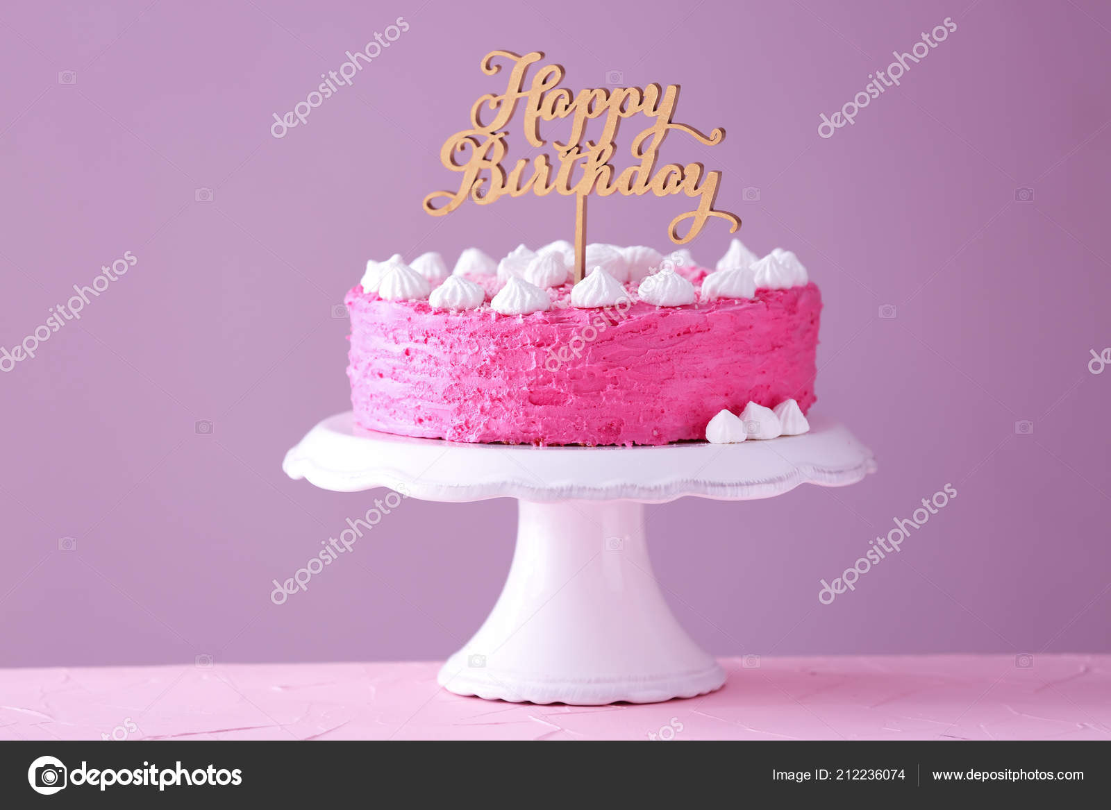 Stand Delicious Birthday Cake Table Color Background Stock Photo