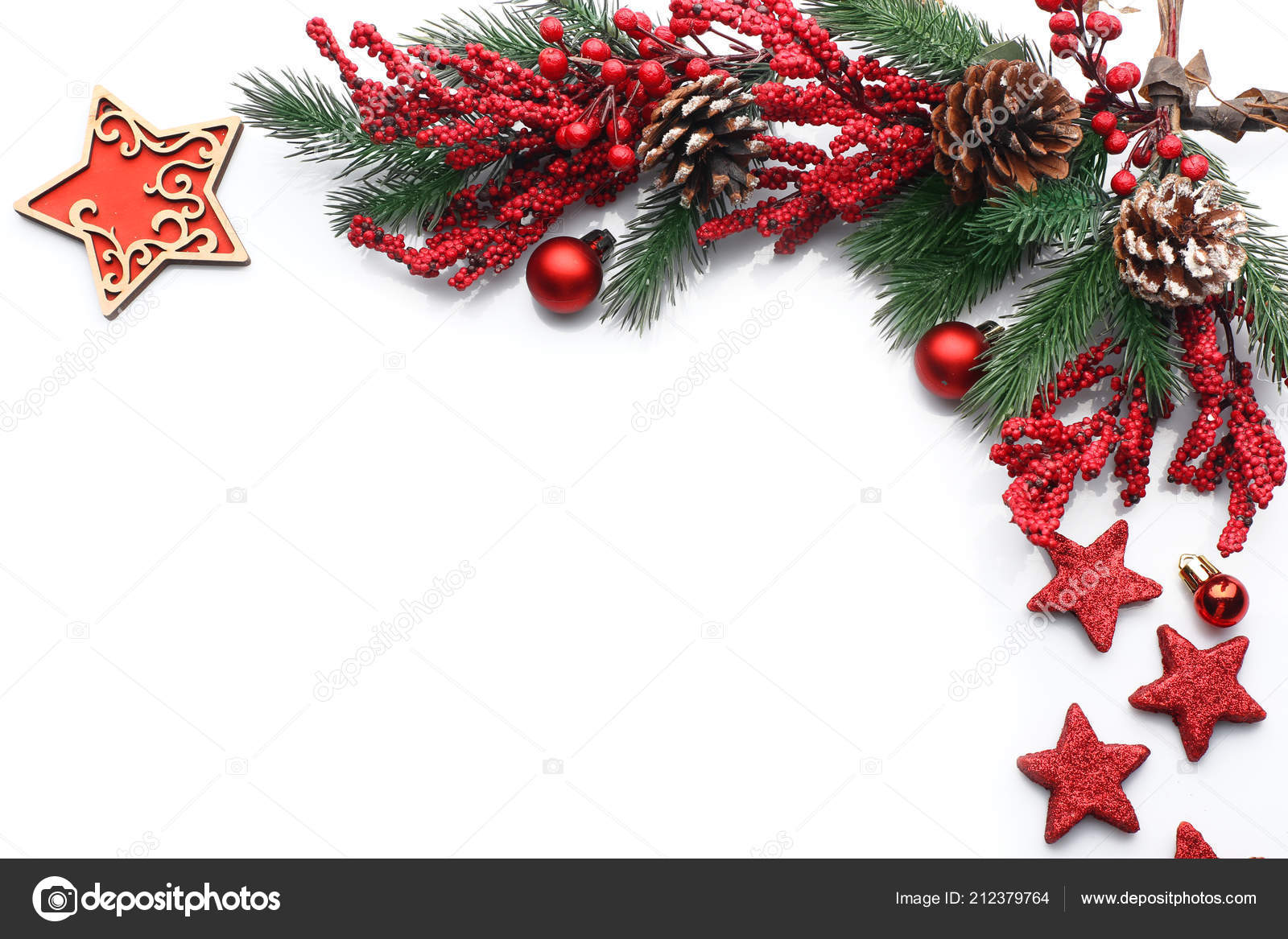 Beautiful Christmas Decorations White Background Stock