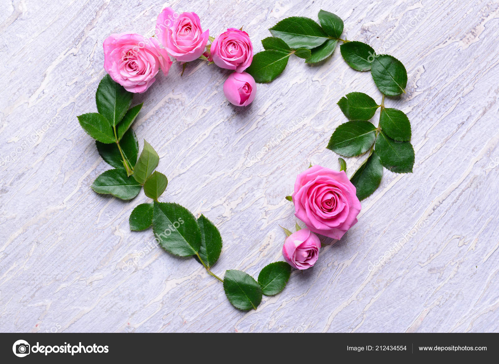 Heart Made Beautiful Flowers Leaves Light Background Stock Photo C Serezniy 212434554