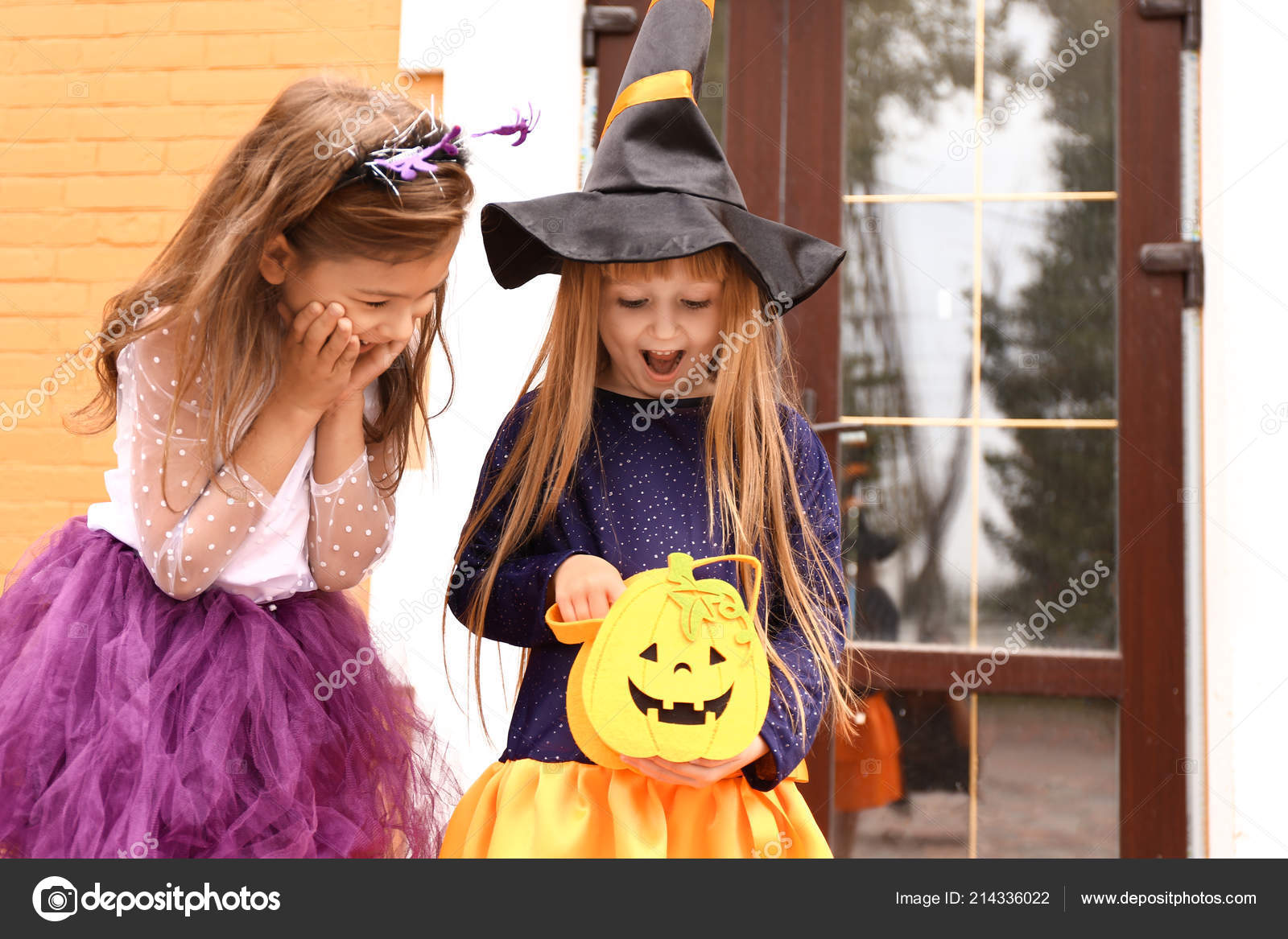 Cute Little Girls Halloween Costumes Looking Bag Outdoors U2014 Stock Photo