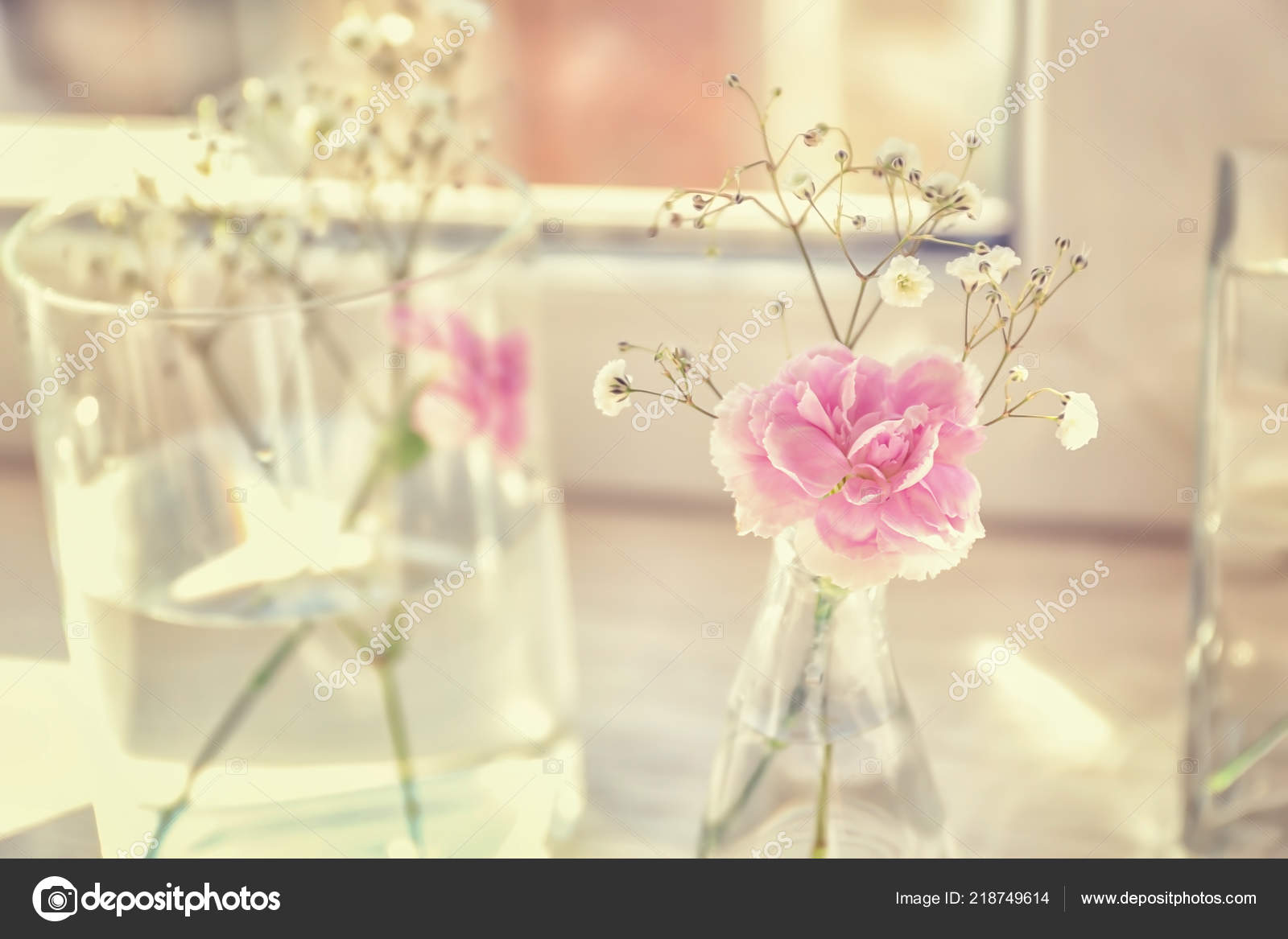 Vases beautiful pink flowers windowsill stock photo serezniy vases beautiful pink flowers windowsill stock photo mightylinksfo