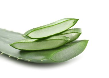 Aloe vera leaf with slices on white background