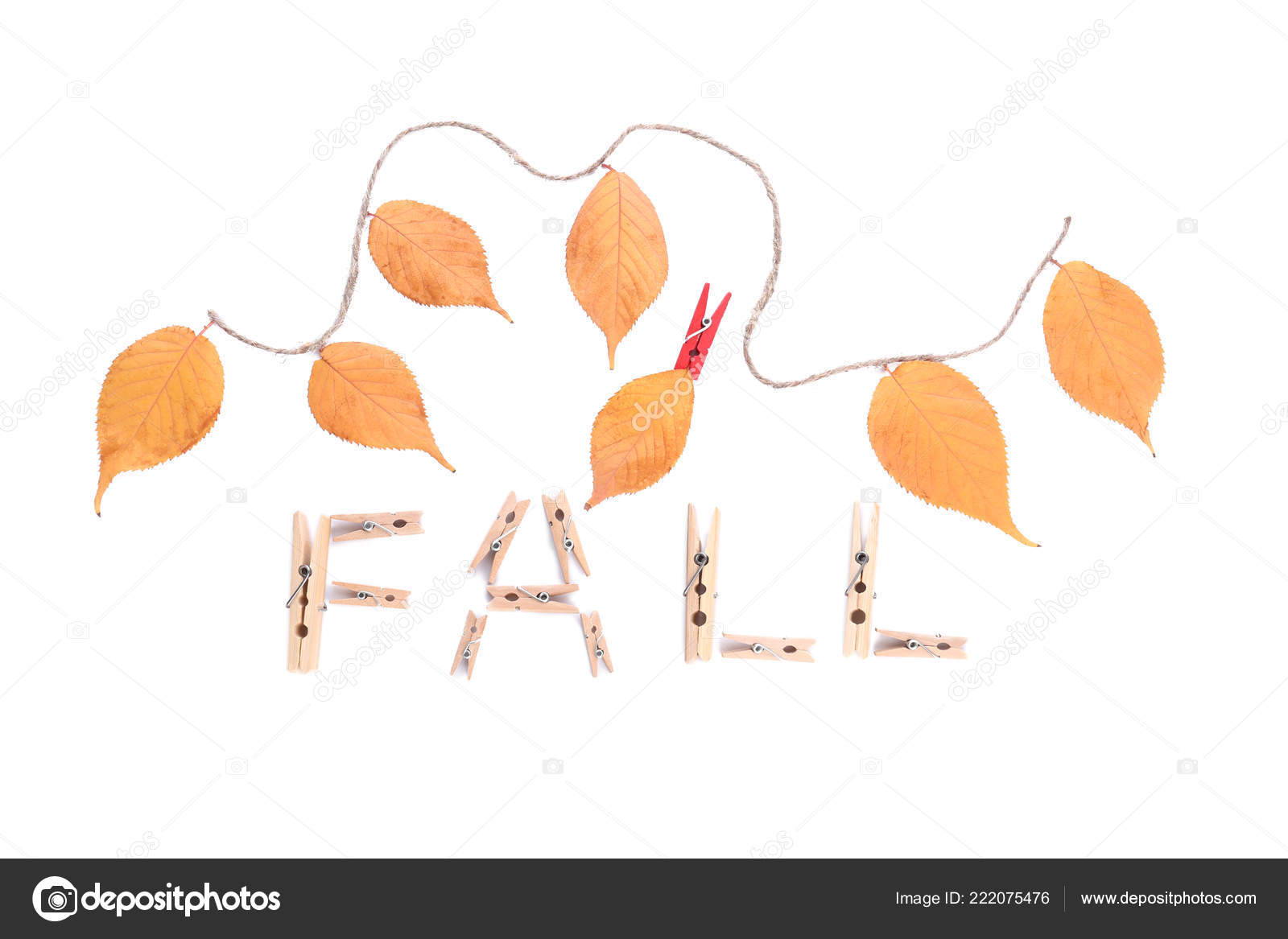 word fall made clothes pins autumn leaves white background stock